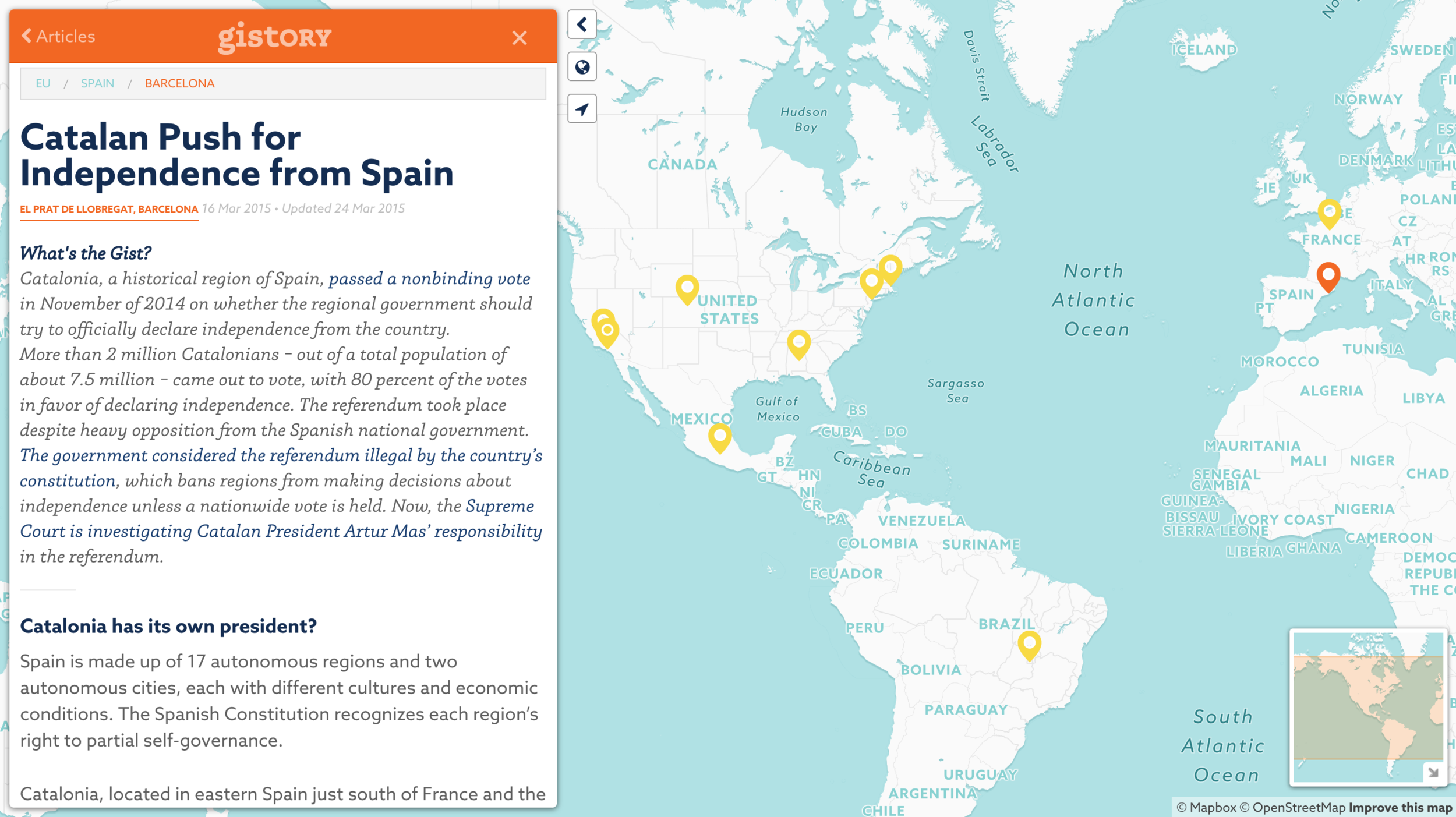 Screenshot of the live Gistory site reporting of the ongoing push for Catalan independence from Spain. I designed the website and worked closely with the web development team to bring the site's unique functionality to life.