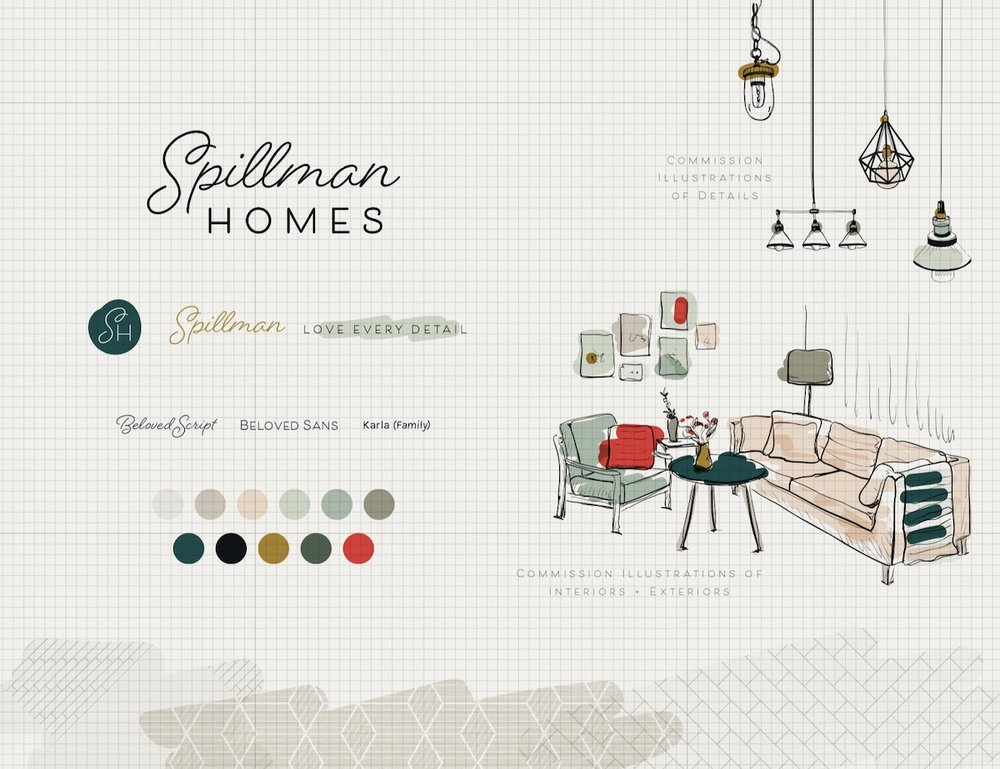My final brand board for Spillman Homes