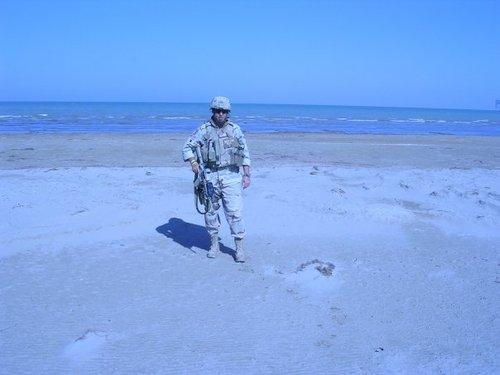 On the sands of Mogadishu, Somalia while deployed with the Marines.