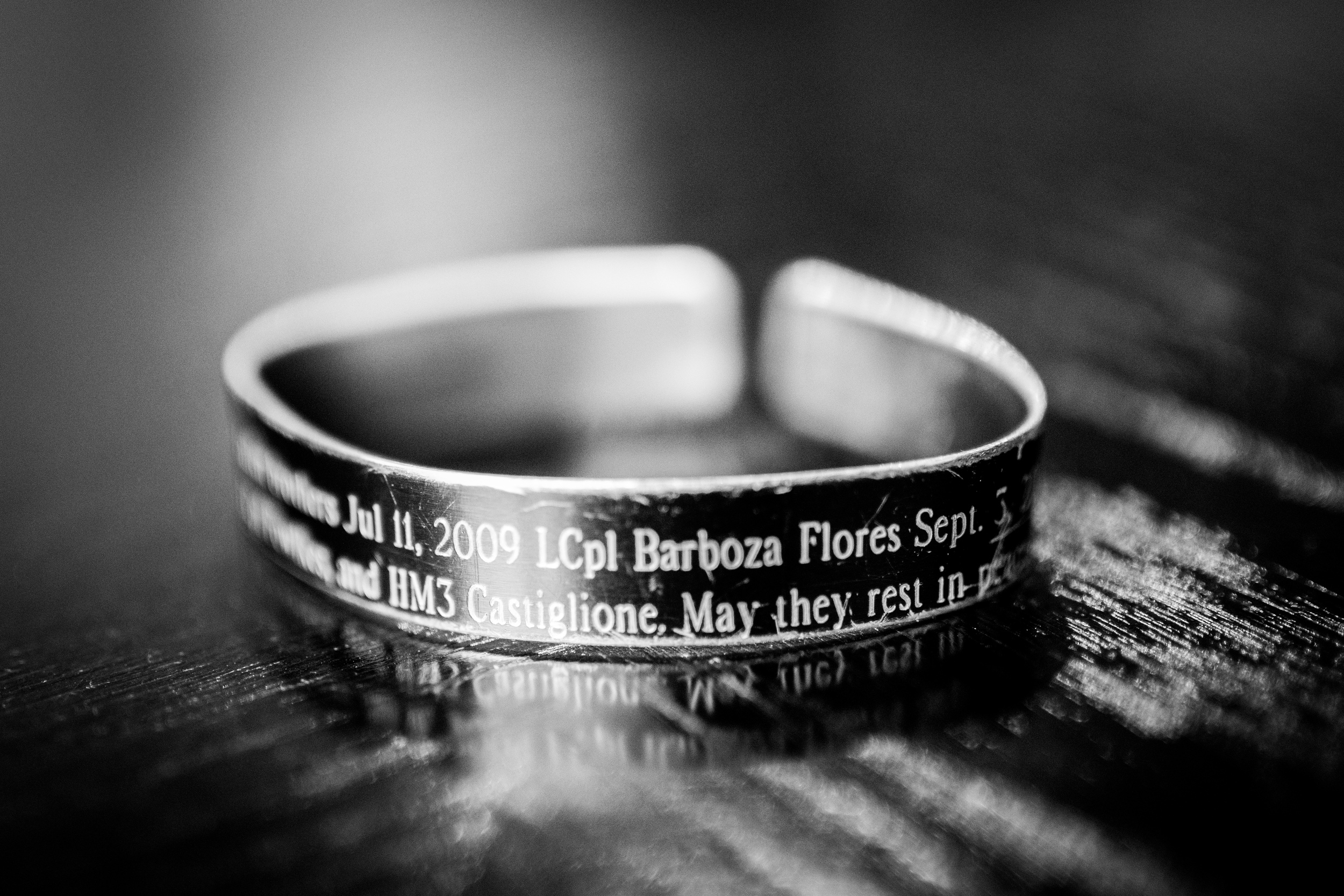 Josh keeps this on his right wrist in honor of LCPL Barbosa Flores, who lost his life during combat operations in Helmland Province