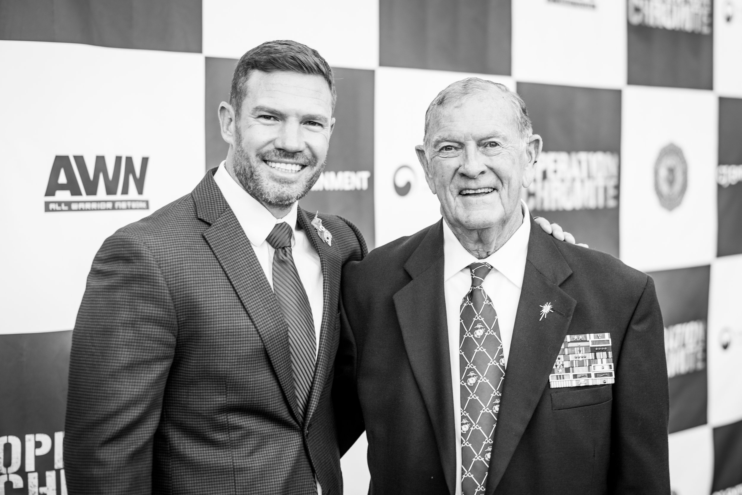 Nate with one of the special guests of the Operation Chromite Premier, a veteran of both Vietnam and the Korean War.