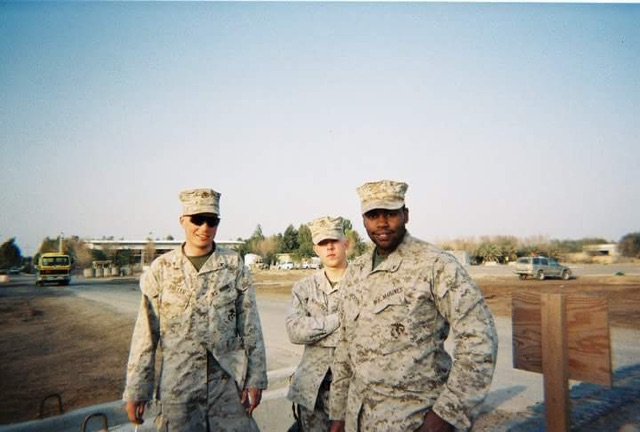 Fuller with his fellow Marines.  Fuller is on the far left.