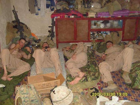 Fuller with fellow Marines at their COP in Fallujah.  Fuller is on the far left.