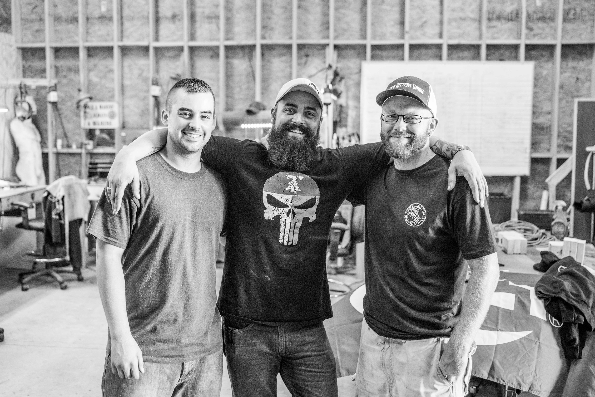 Liam with two of the guys from BlackGuard Customs, Zach Murray (left) and Matt Capo (right).