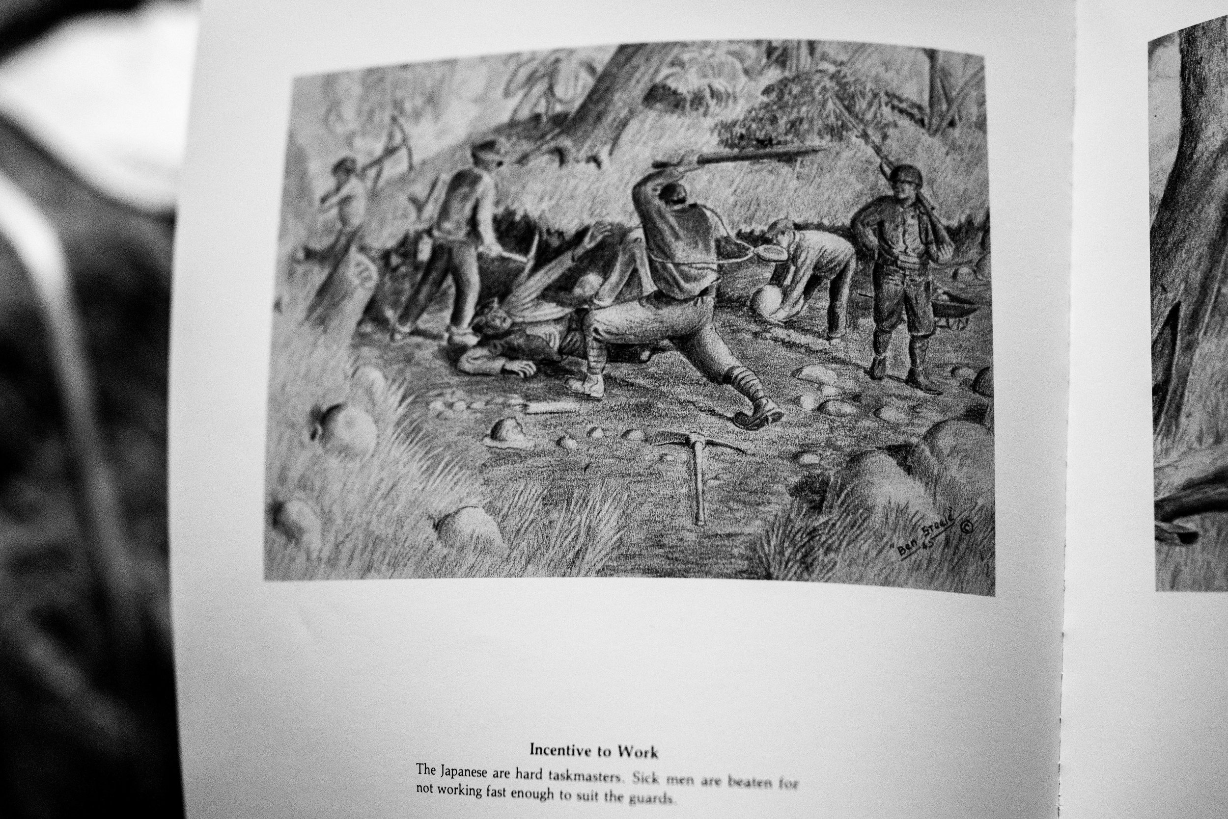 This series of charcoal drawings are a part of a series by Benjamin Charles Steele, an American GI who was in the same camp as Alfred.