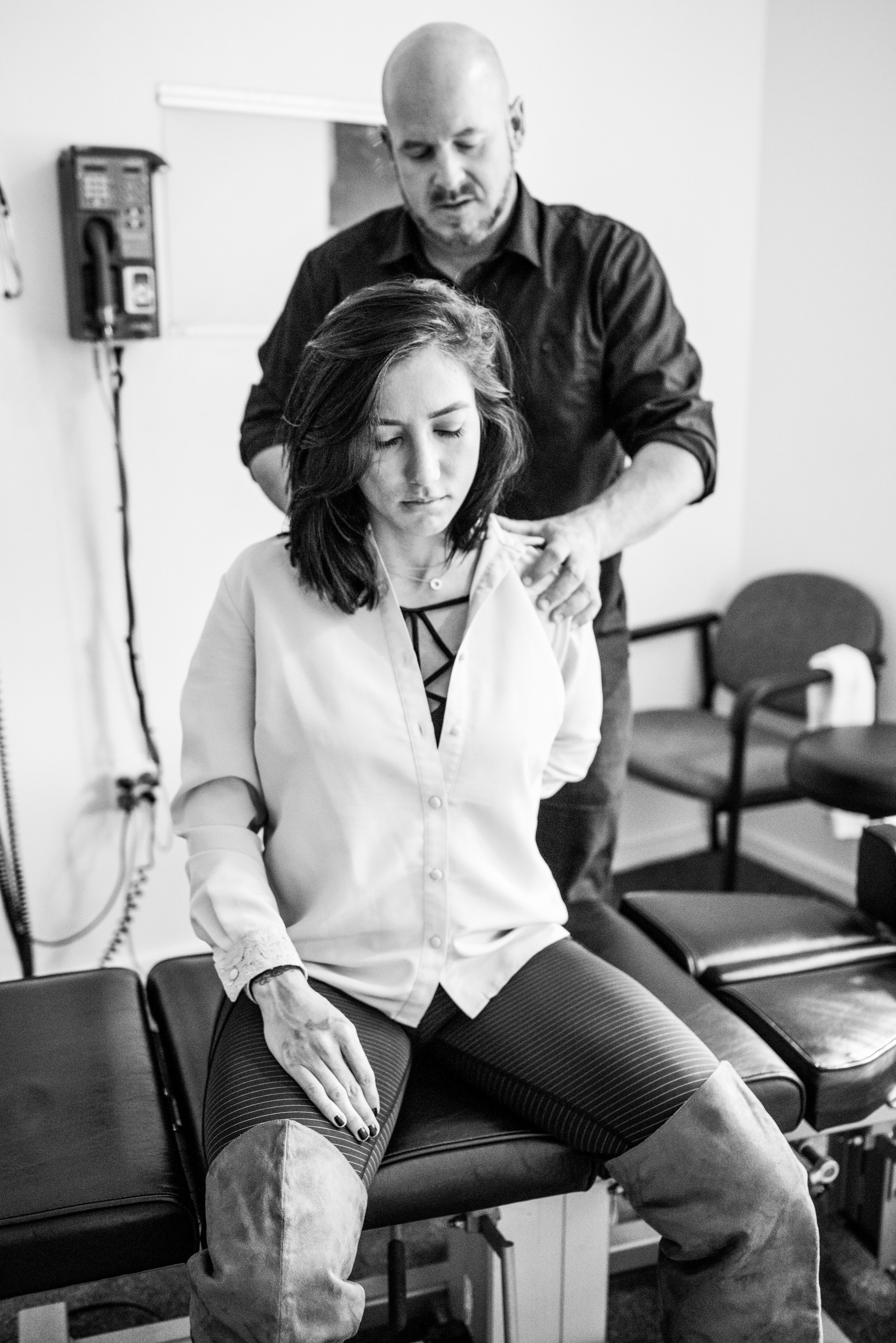 Jacqueline at a physical therapy session with Dr. David Sales.