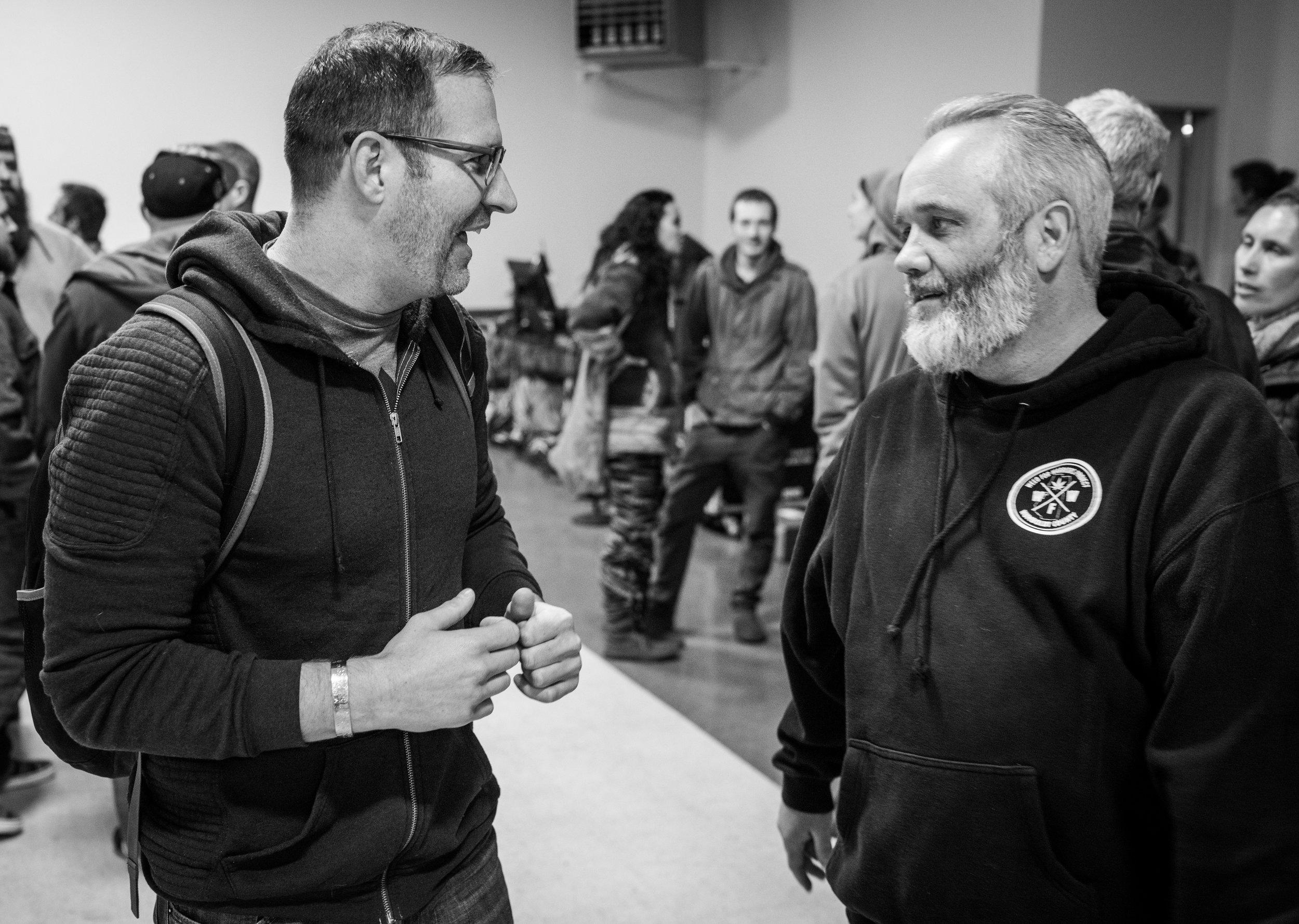 "Ryan speaks with ""Weed for Warriors"" Project President, Sean Kiernan."