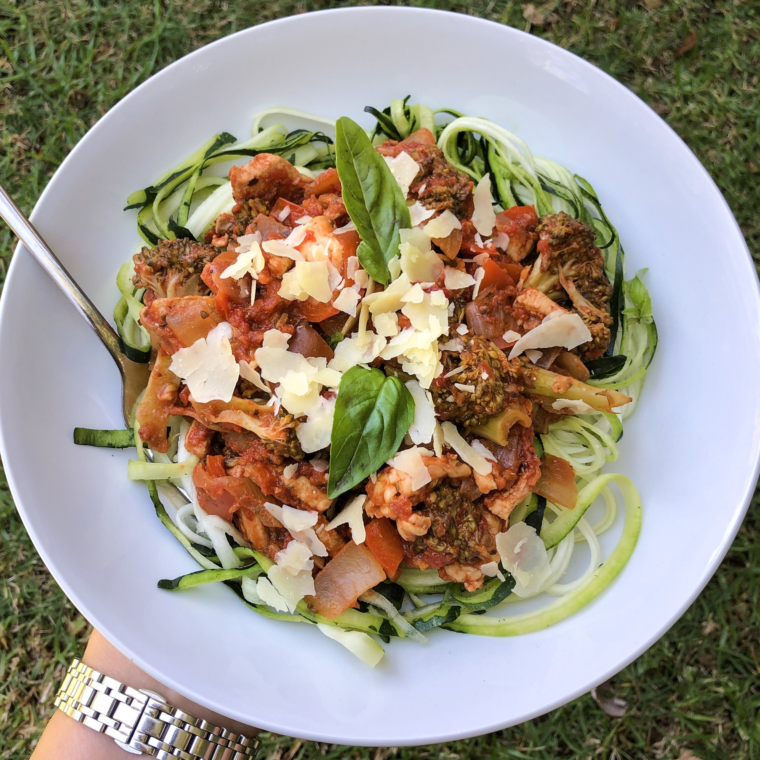 Chicken and Veggie Sugo with Zoodles