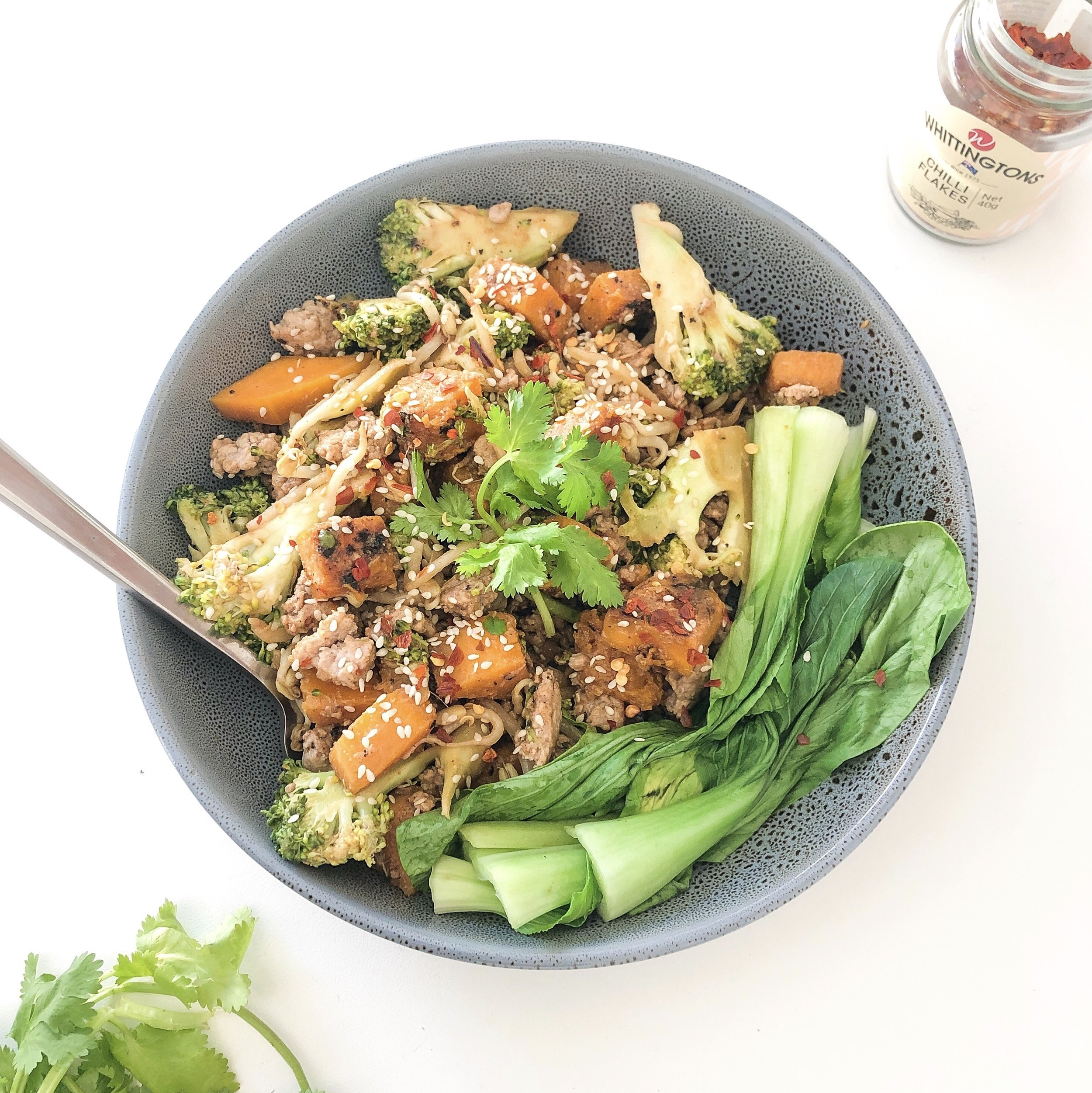 One Pan Chicken and Miso Pumpkin Stir-fry