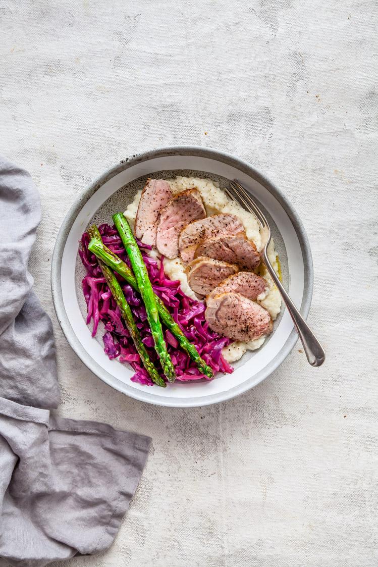 Garlic Pork With Cauliflower Puree & Sweet 'N' Sour Cabbage