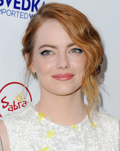 Emma Stone's blue eyes sparkle against her hint of blue on the outer corners.
