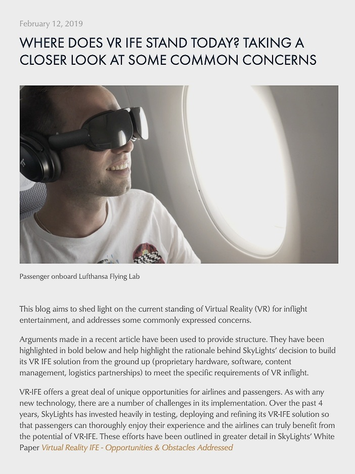 BLOG - WHERE DOES VR IFE STAND TODAY? TAKING A CLOSER LOOK AT SOME COMMON CONCERNS - Discover where VR IFE stands today and the reason why SkyLights has built it's solution from the ground up