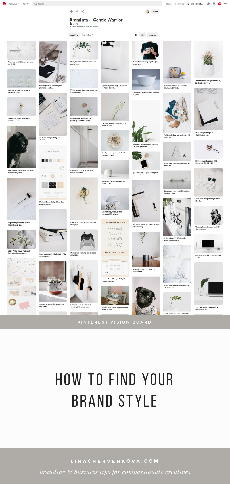Brand Vision Board on Pinterest — How to find your brand style and why you should do it before you design your logo | linachervenkova.com