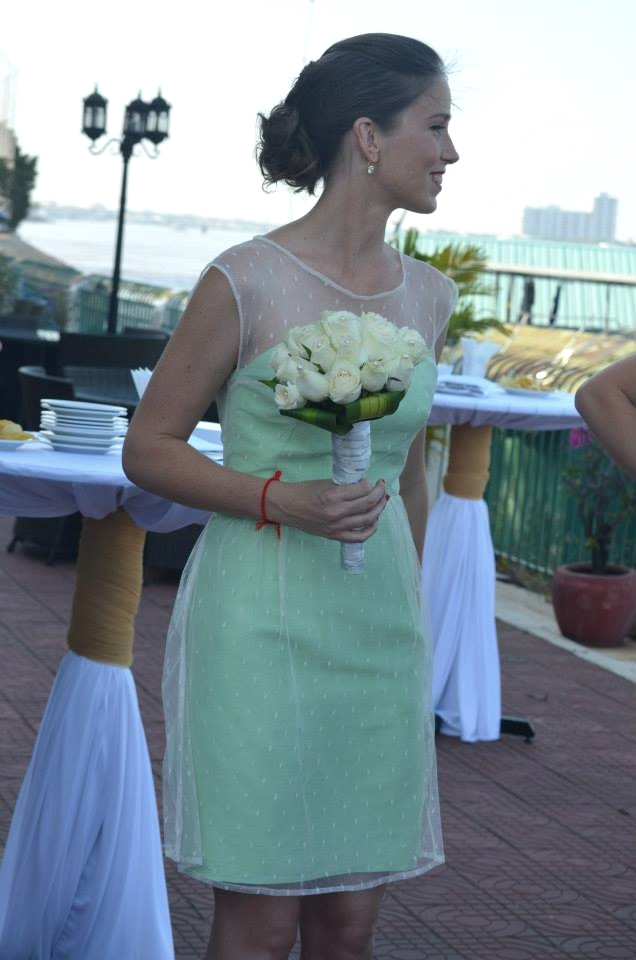 Short mint green bridesmaid dress