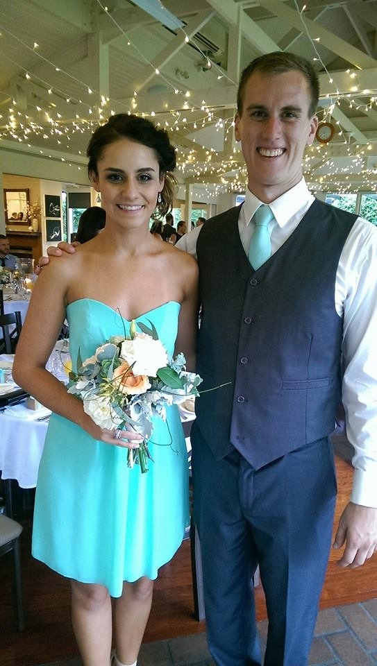 Custom made mint aqua turquoise strapless bridesmaid dress with matching silk tie