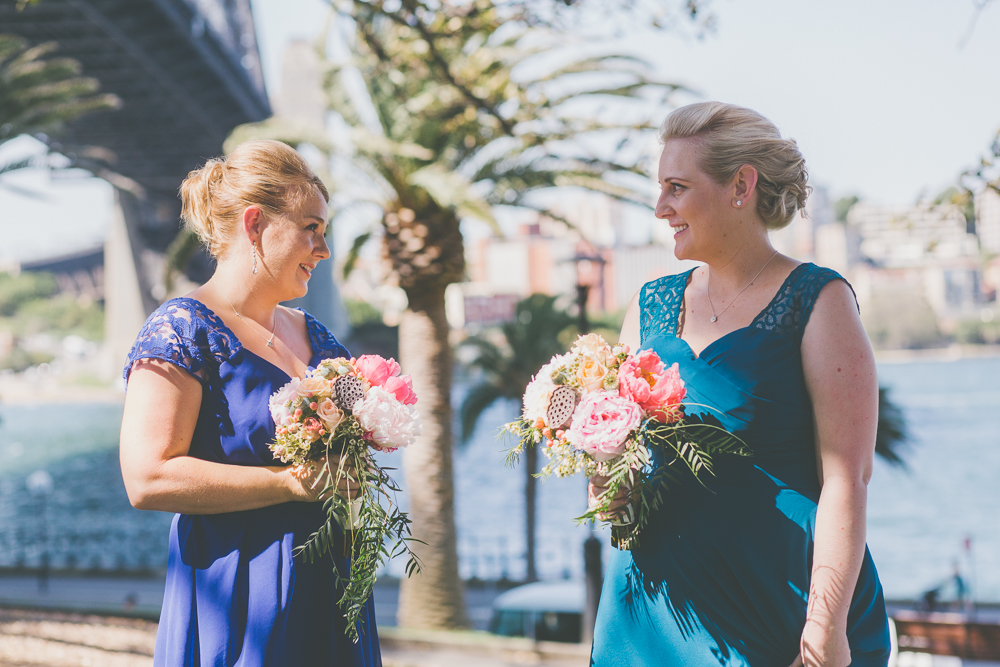 Non-matching bridesmaid dresses royal blue and turquoise