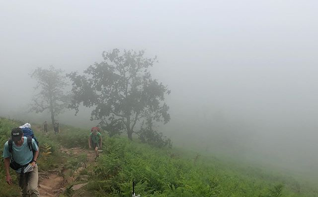 Day 4 - this is what a four hour vertical climb looks like. Through the clouds to the summit. From cool to scorching. Not shown: the five of us huddled under a small tree trying to cool down on the descent.