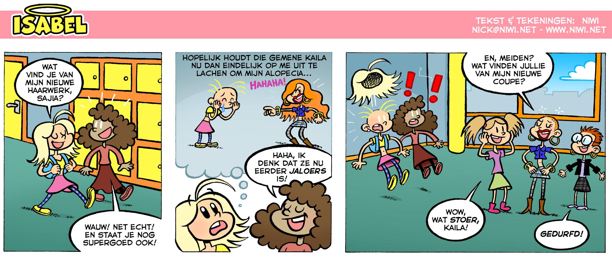 Voor Alopecia Magazine moch ik een tweede Isabel strip maken. In deze aflevering introduceer ik haar vriendin Sajia en haar nemesis Kaila!