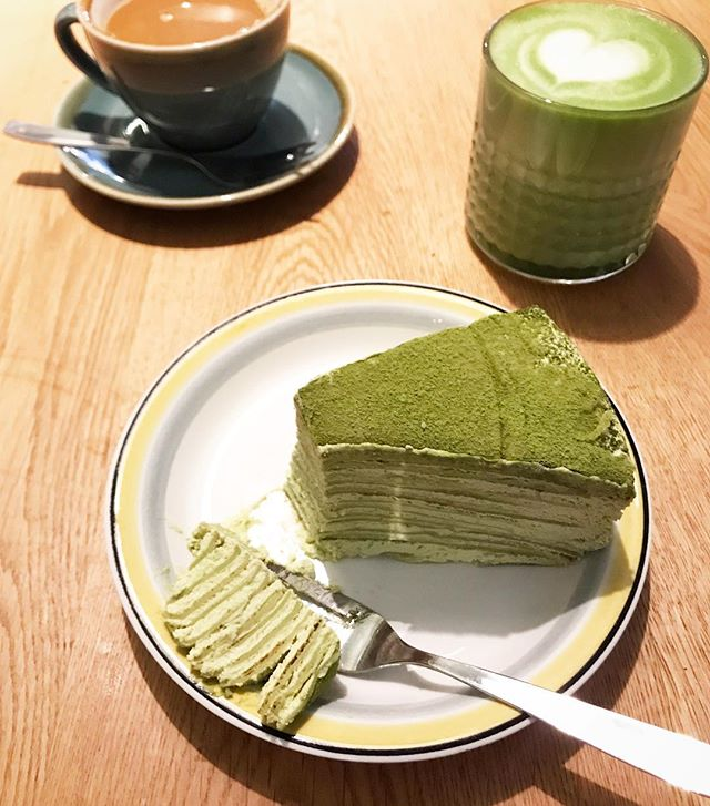 A matcha made in heaven: matcha crepes cake and a matchaing latte. Found at the cutest little Japanese cafe @cafekoyastockholm