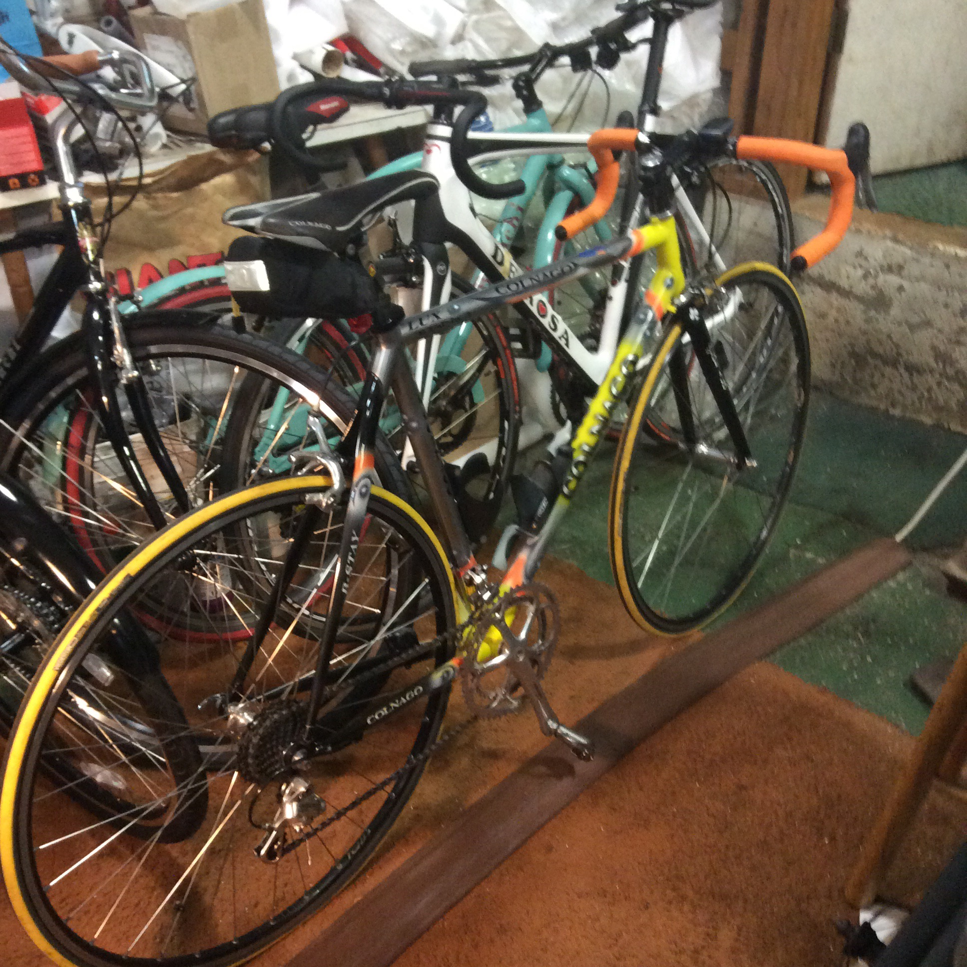 According to Mike, this is a customer bike looking to be sold privately. The size is possibly a 54 (but could be a 56) with full Campy. Contact Wheelfine for more information.