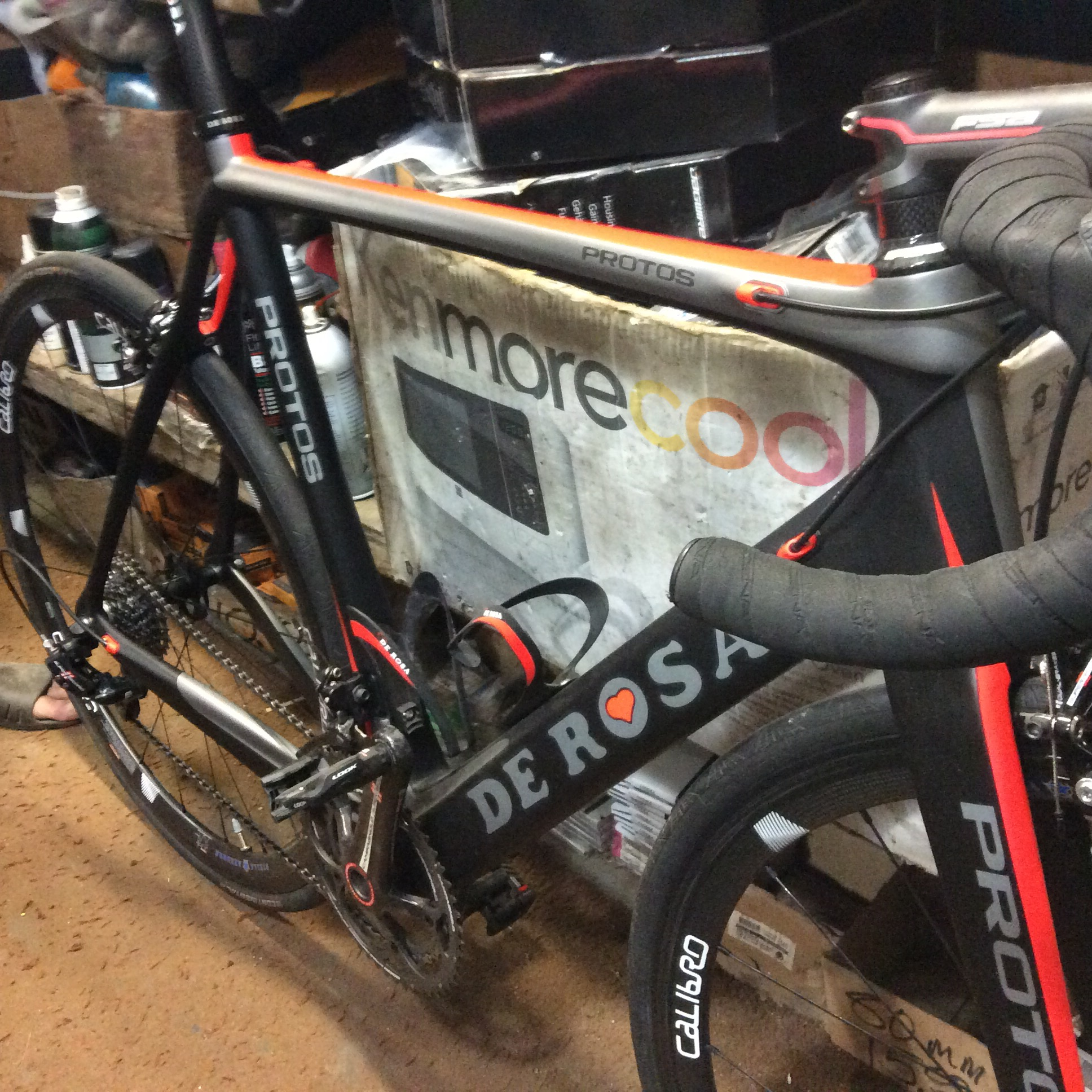 Mike especially loves this De Rosa with full Campy. The downtube is even more massive looking in person.