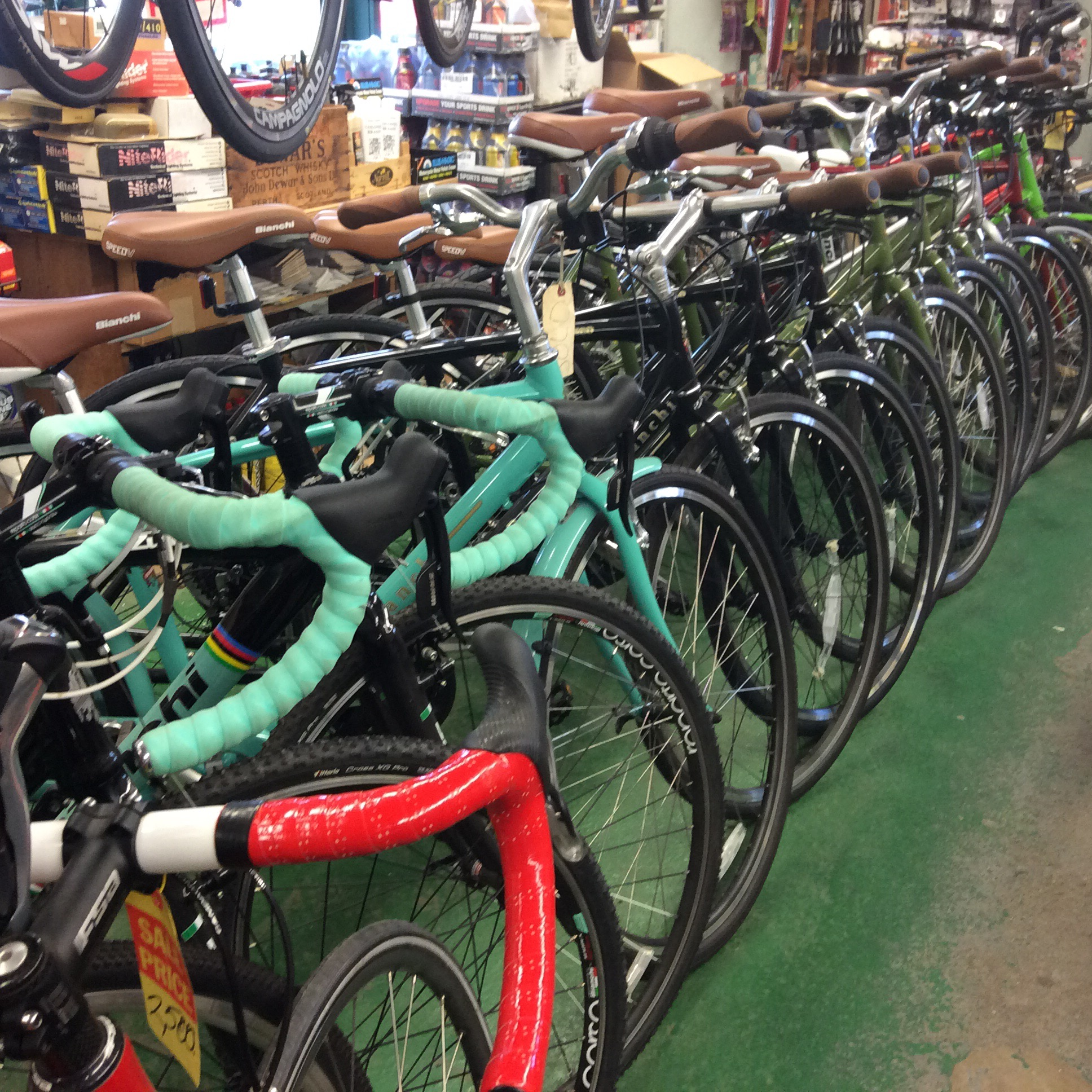 Two Bianchi 'cross bikes ready for the fall race season, and numerous Bianchi commuter bikes ready for leisure life.