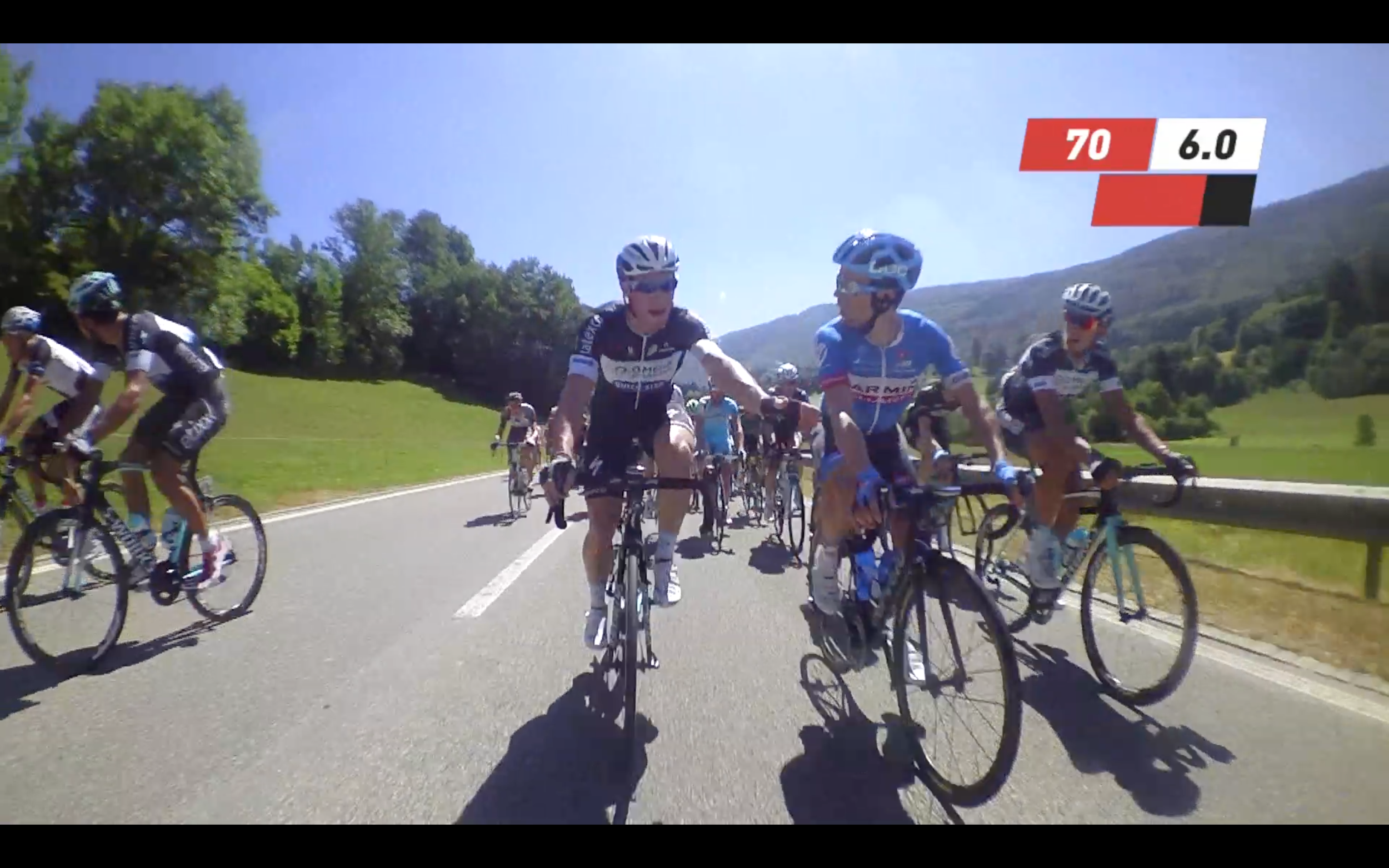 One of two instances in the video with peloton arguments.