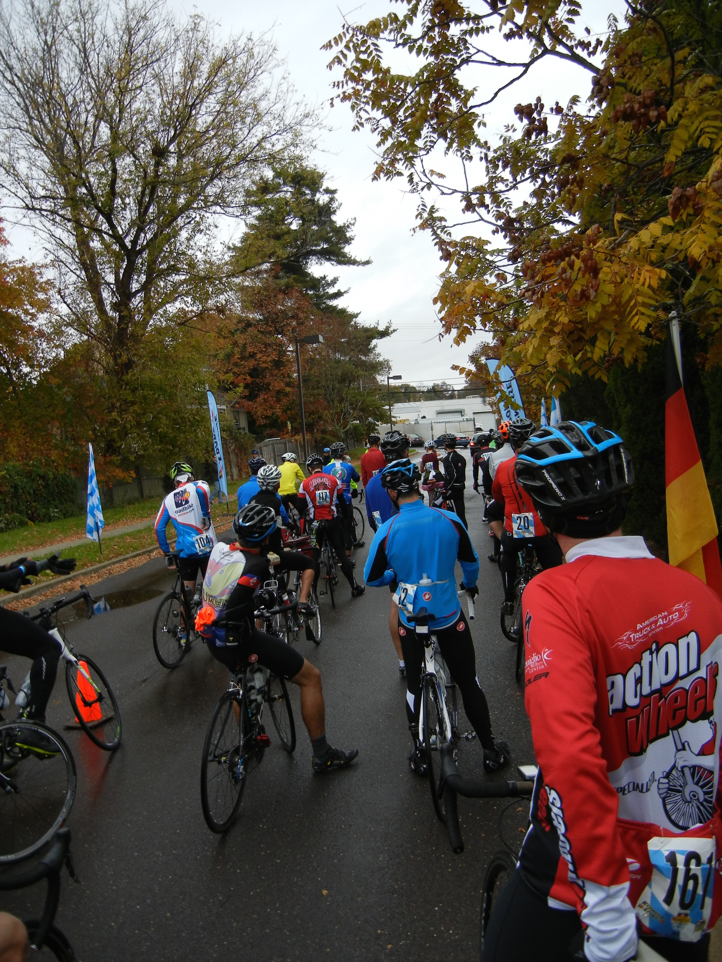 The start of the 2015 Oktoberfest ride saw wet roads but tepid temperatures.