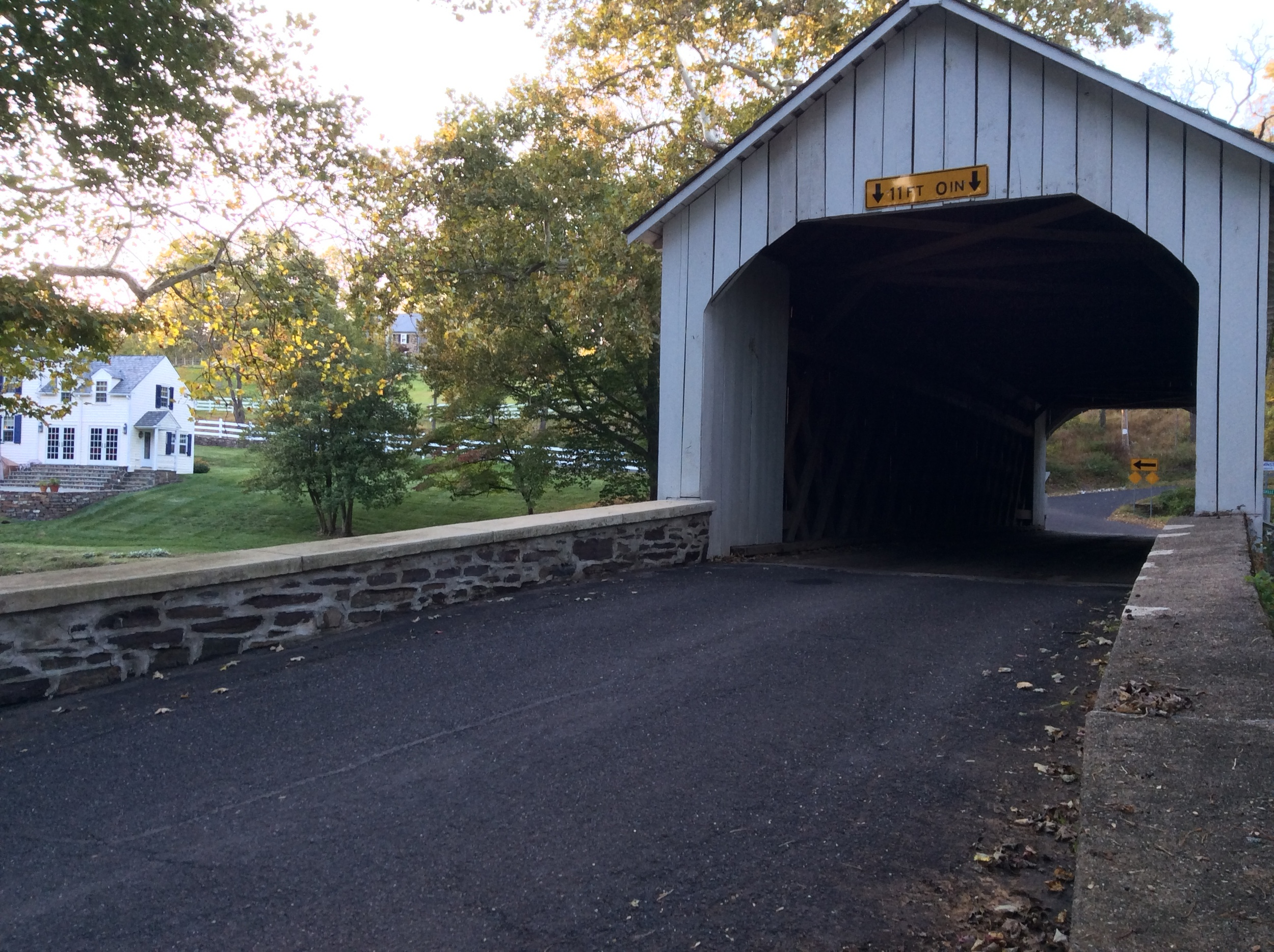 """Once you cross that bridge my friends, the ghost is through. His power ends!"" The Loux Covered Bridge - the only white bridge on the tour. This was once a feature to the two-year Bucks County Classic road race."