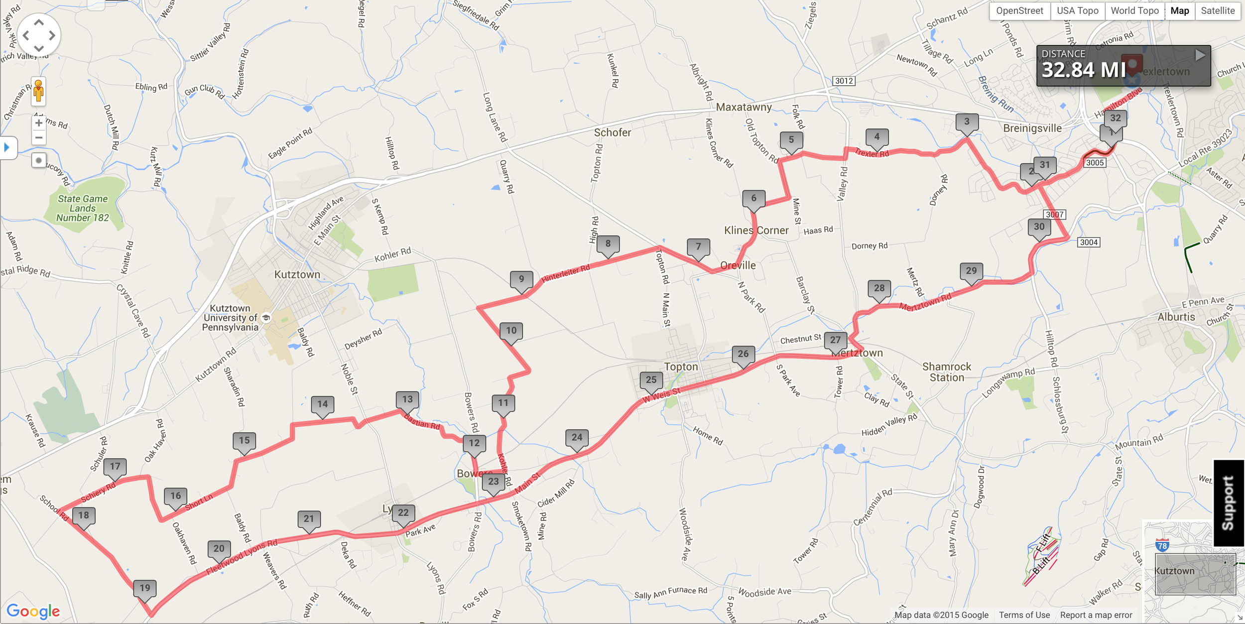 The route map of the Derby. The fun begins just after mile nineteen.