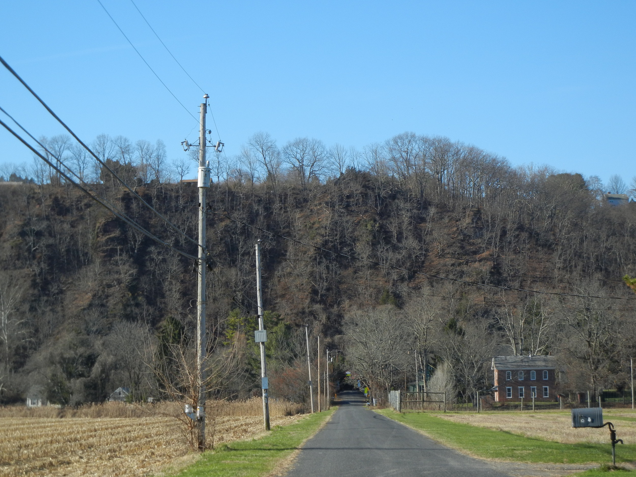 The route to the top of this bluff takes one up Uhlerstown Road.
