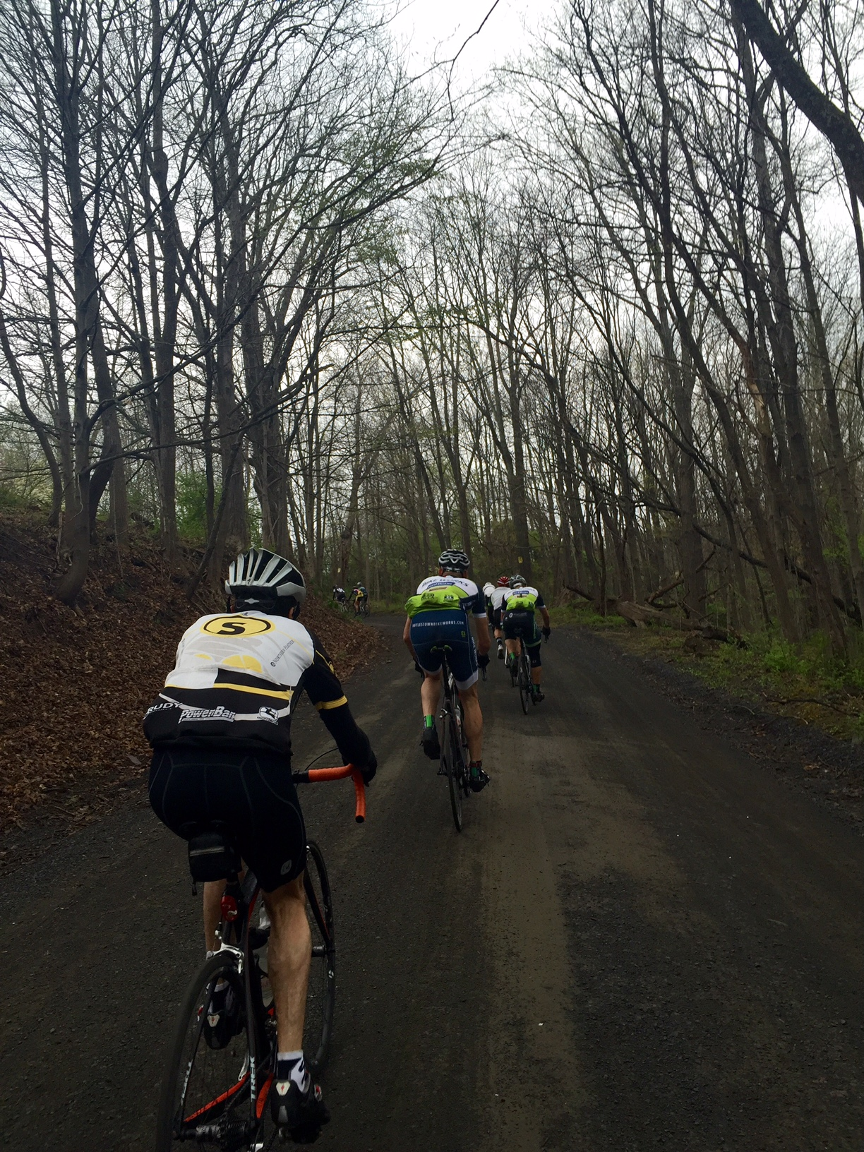 Approaching the steep, sweeping left hand turn on a wet Ridgevalley Road.    Photo by Mike McHugh