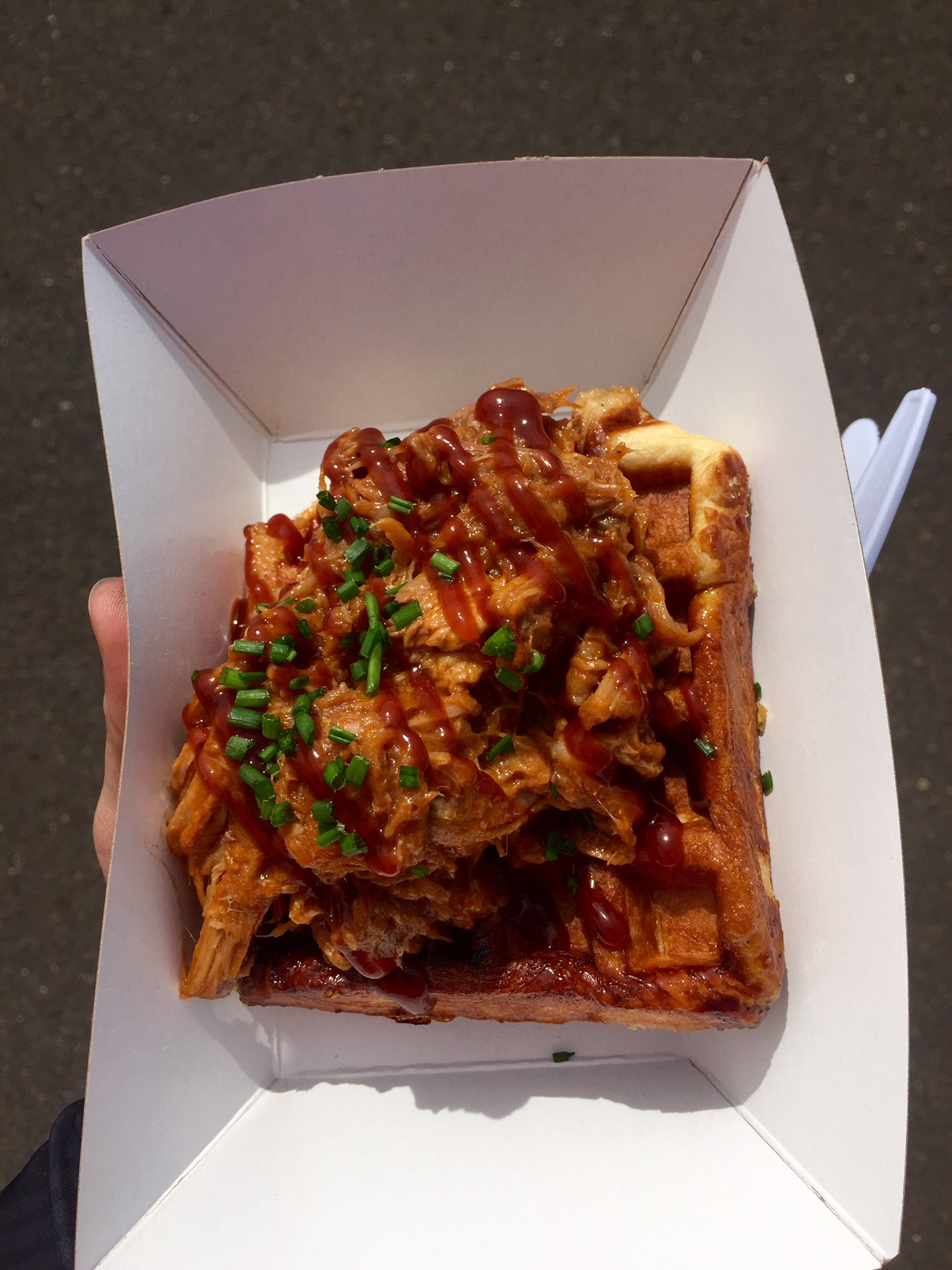 Nina's pulled pork served on top of a Liege style Waffle, delicious.    Photo by Mike McHugh