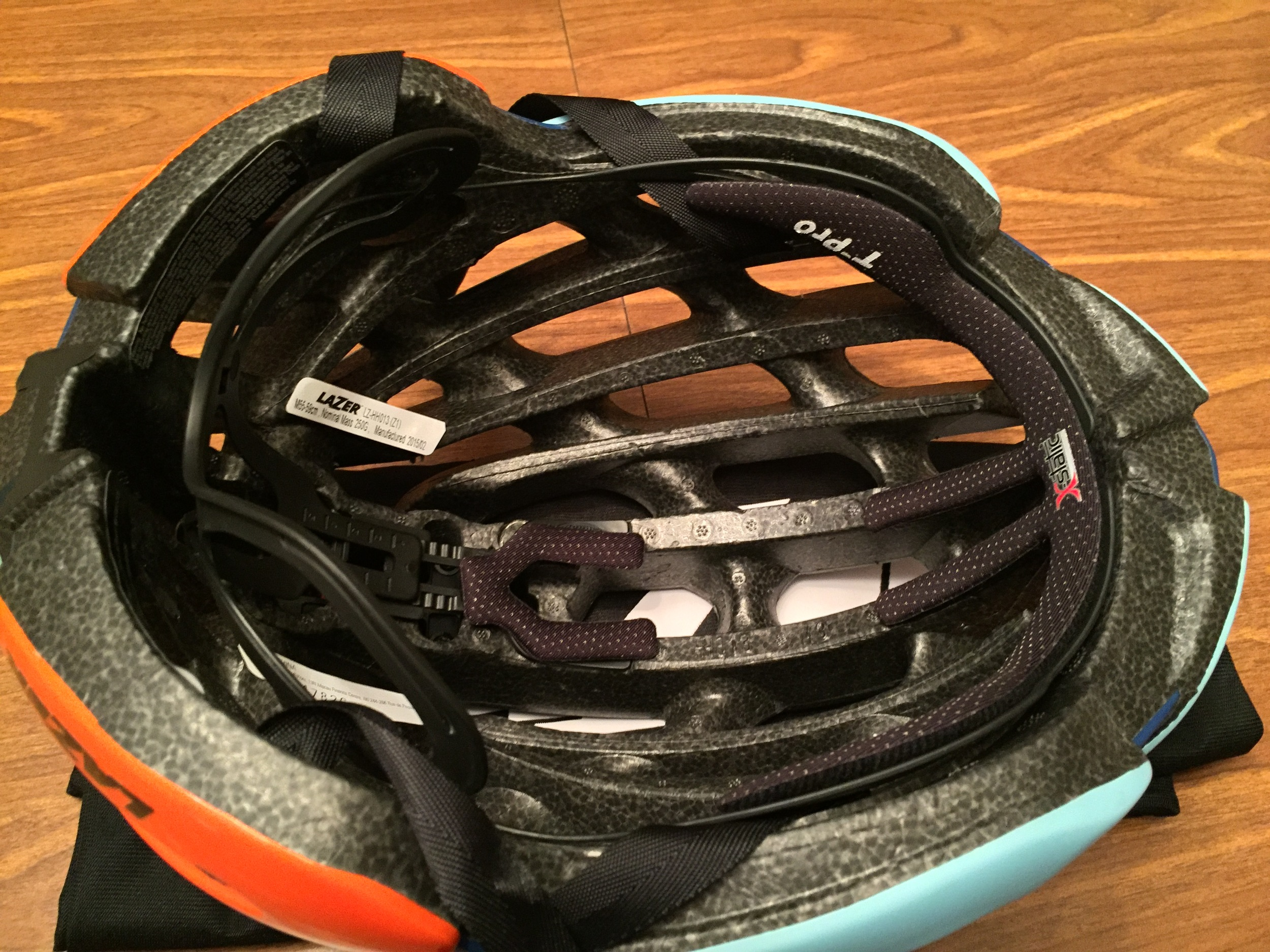 A view of the inside of the Z1 with the T-Pro temple impact protection as well as the adjustable head basket only found on Lazer helmets.