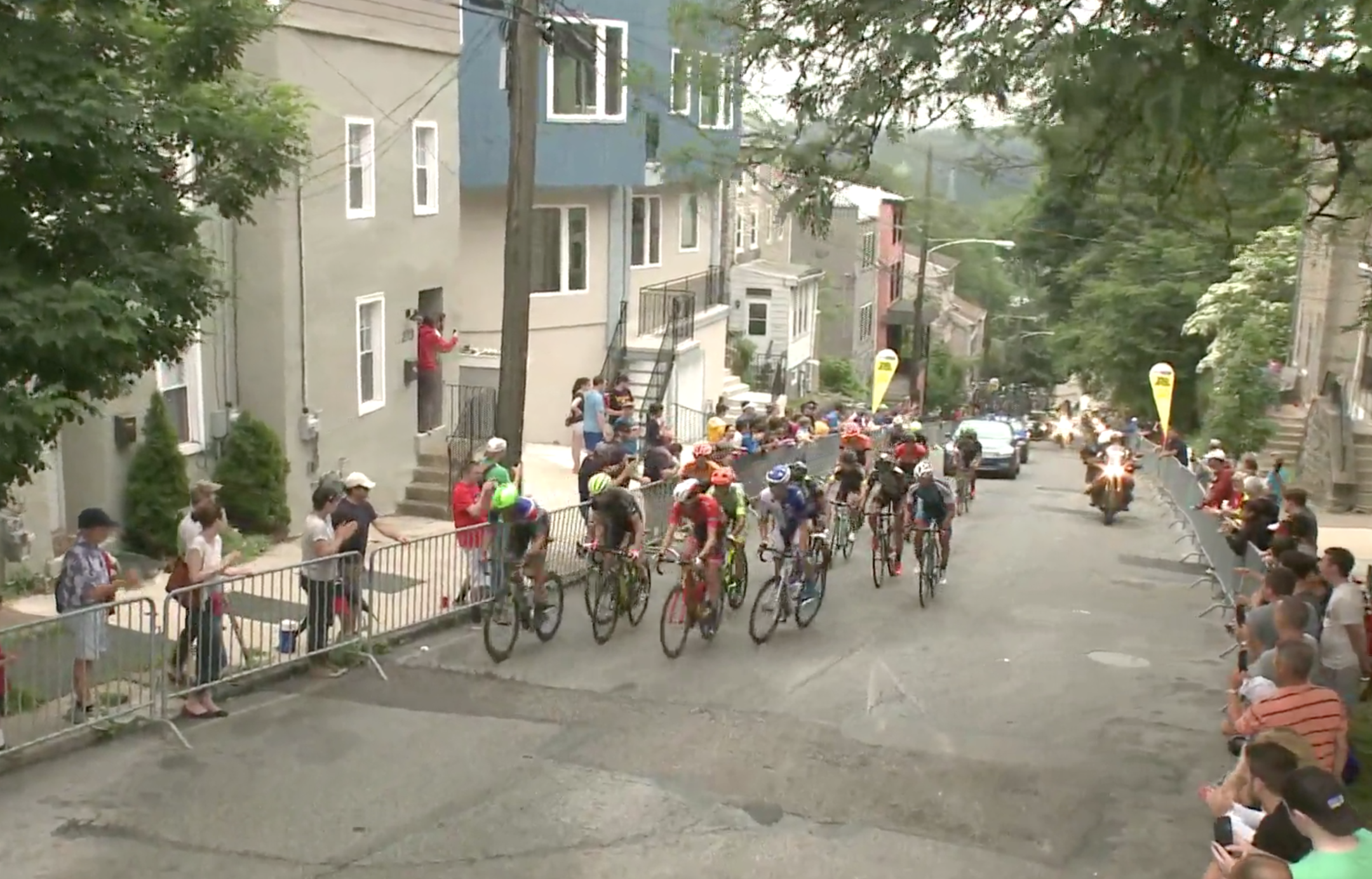 This year's event saw live streaming that captured excellent footage. Here are the lead riders going up the Manyunk Wall.