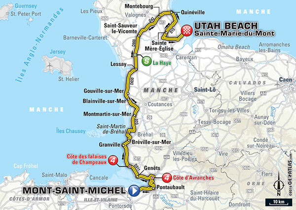 From letour.fr website, stage one of this year's Tour starts at Mont-Saint-Michel and ends at Utah Beach. Since Mont-Saint-Michel is time sensitive, perhaps the ending of the women's race could be elsewhere. If the women started at Utah Beach, the men's finish, and headed to Mont-Saint-Michel, organizers could mathematically figure the two races cross between Lessay and Montmartin-sur-Mer and reroute accordingly.