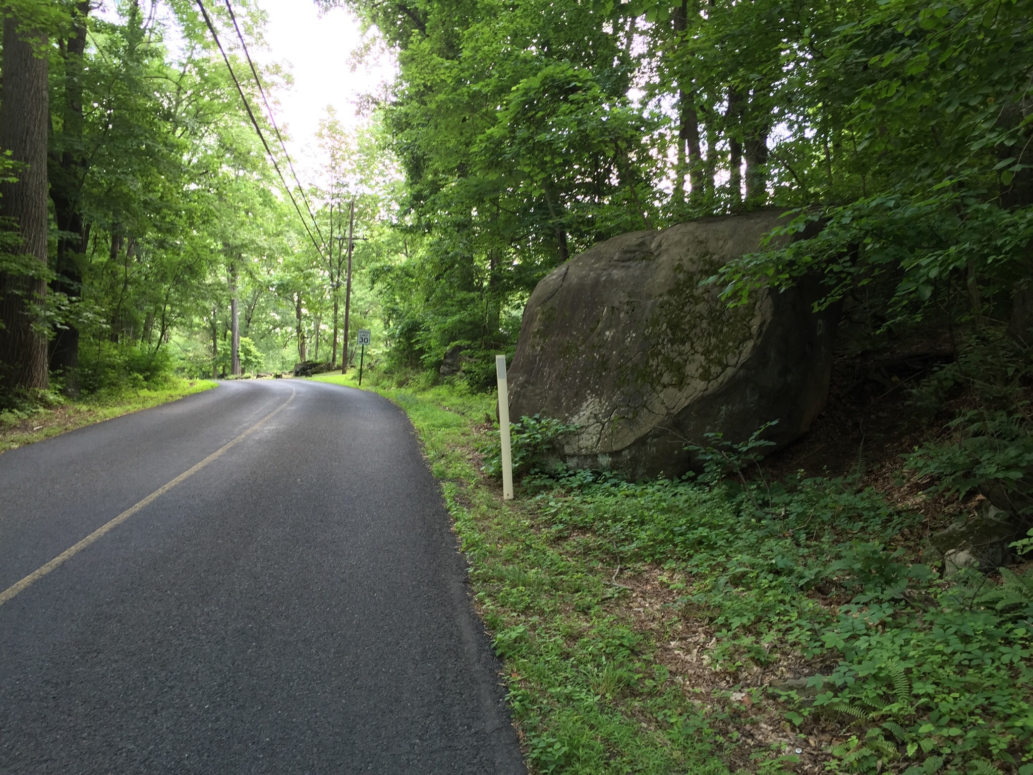 The aforementioned boulder on the side of Ringing Rocks Road to alert travelers to the vicinity of Ringing Rocks County Park.