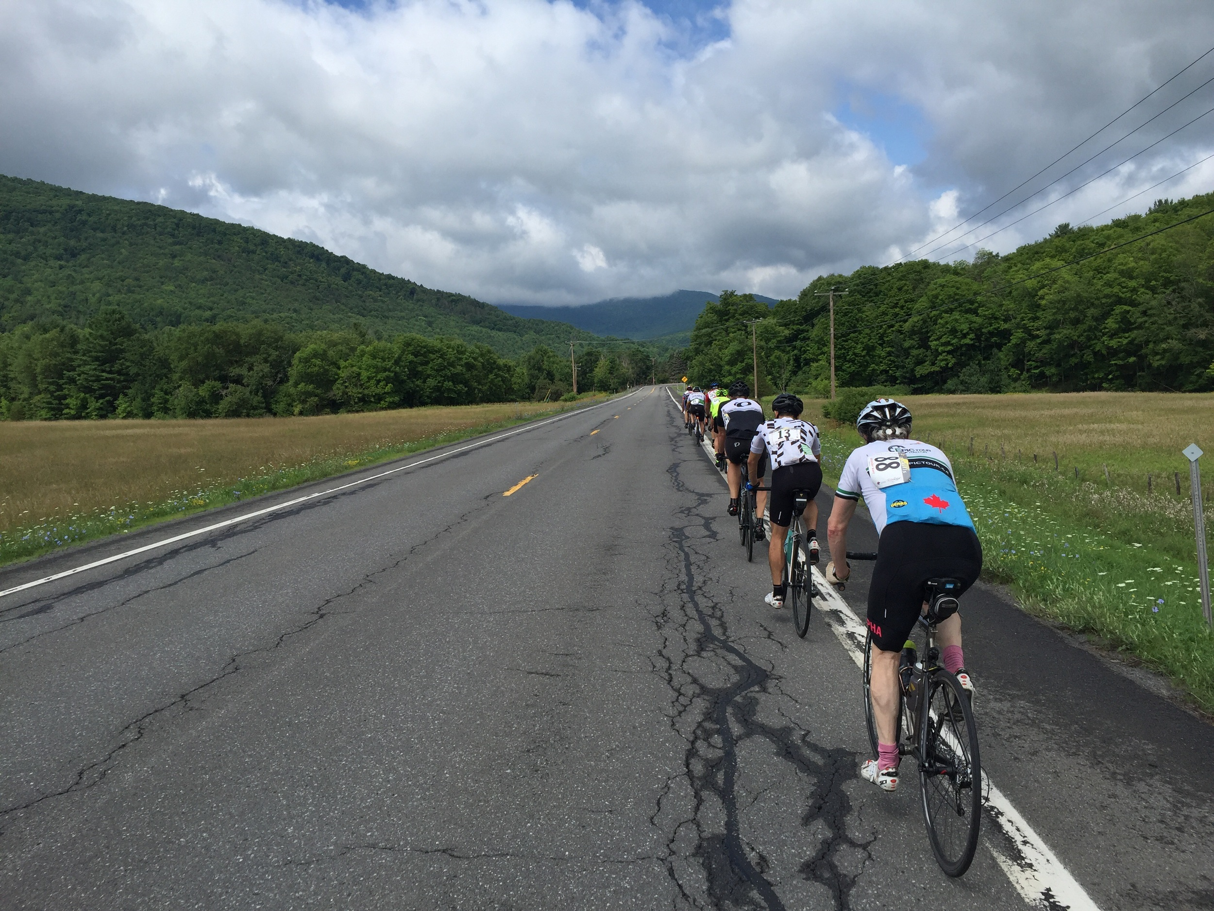 The pace line heading down Route 23A.