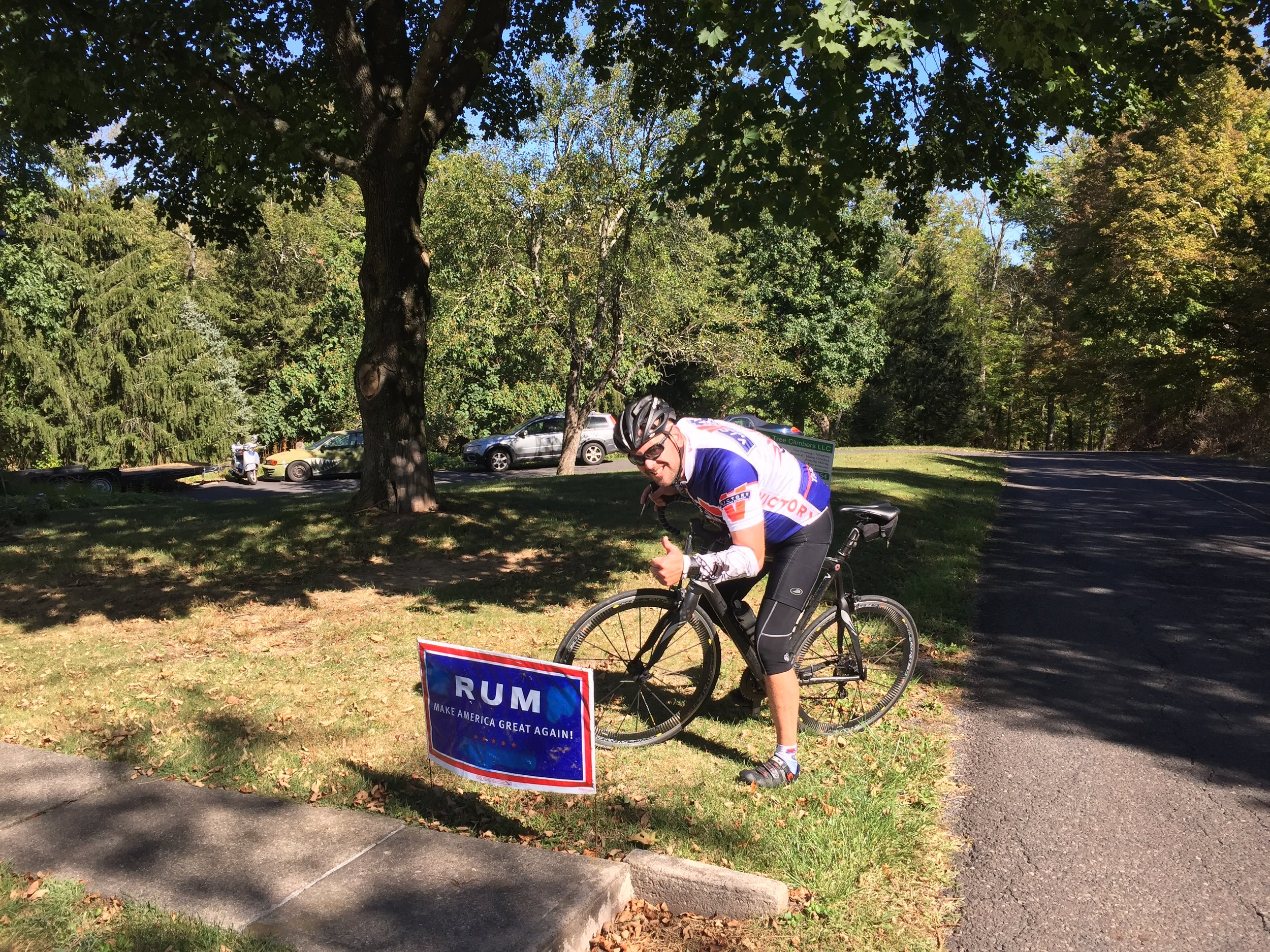 Finally a candidate we can all agree upon, as modeled by JJ at the top of a Headquarters Road climb.