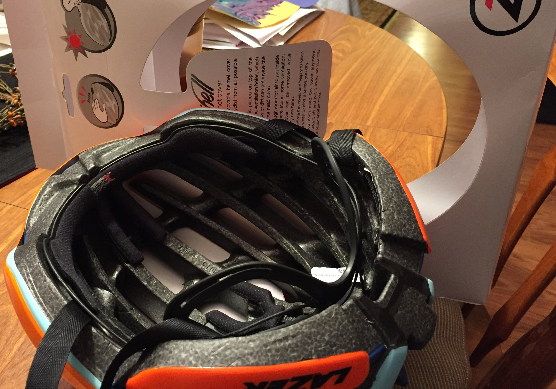 The inside view with the Aeroshell snapped on. The vents on the front 2/3s of the helmet are covered completely.