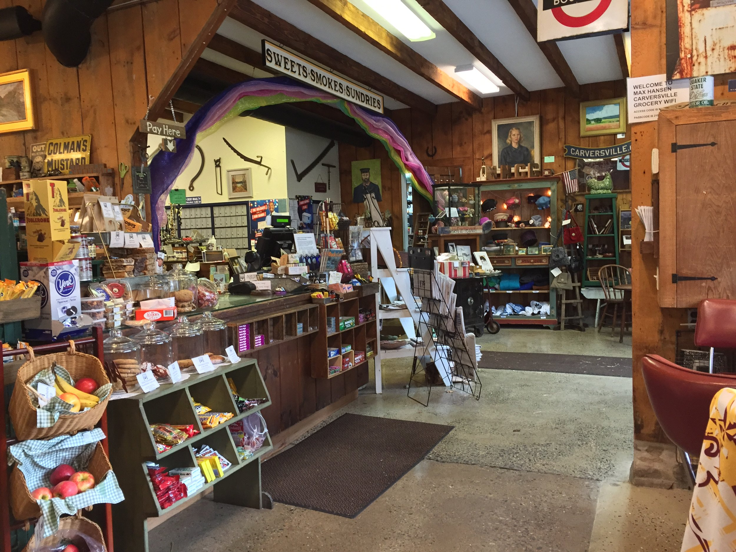 Photographed from our window seat, Max Hansen's Carversville Grocery doubles as a post office.