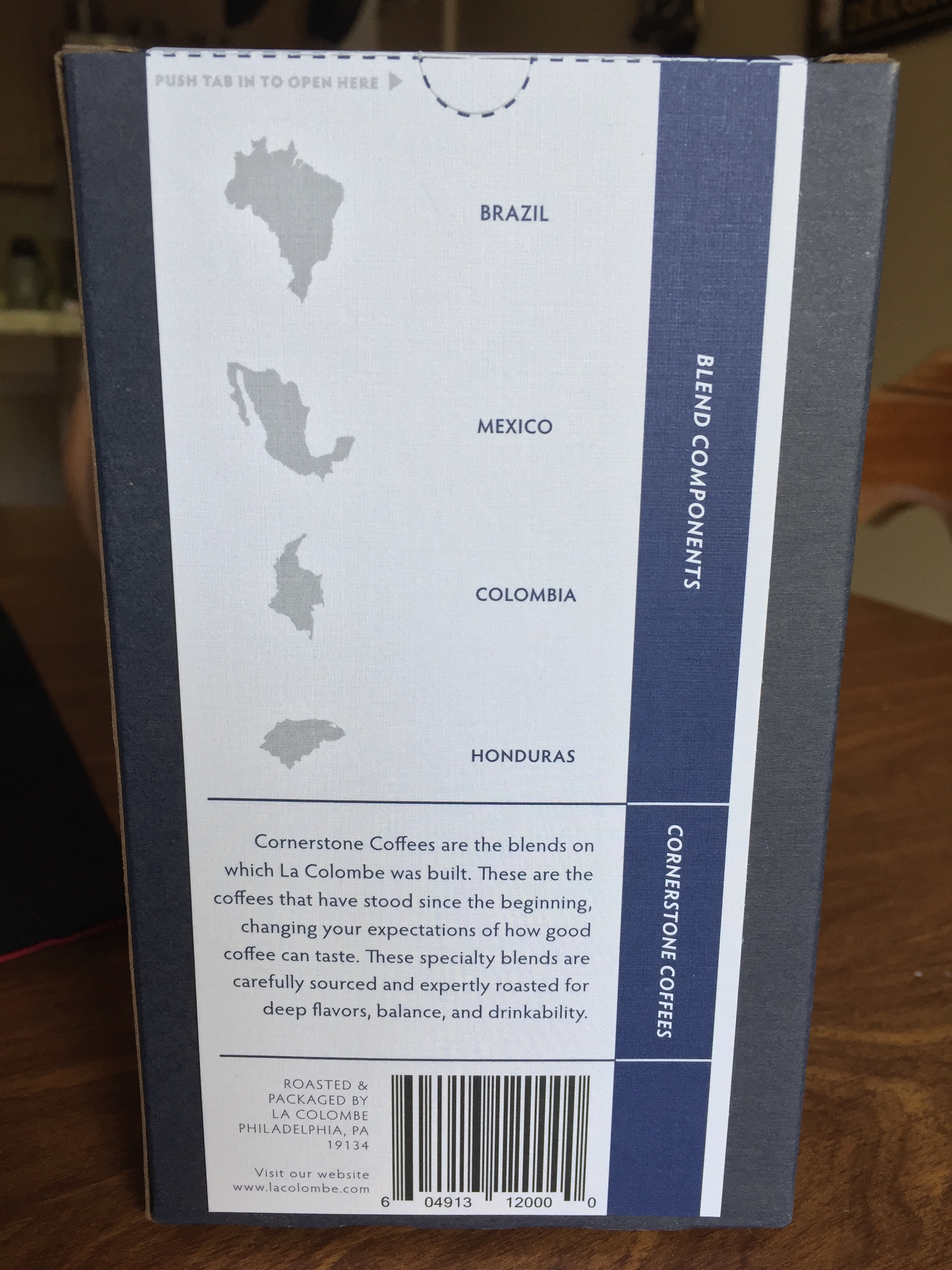 The back of the La Colombe Corsica Box highlighting the travels of its beans.