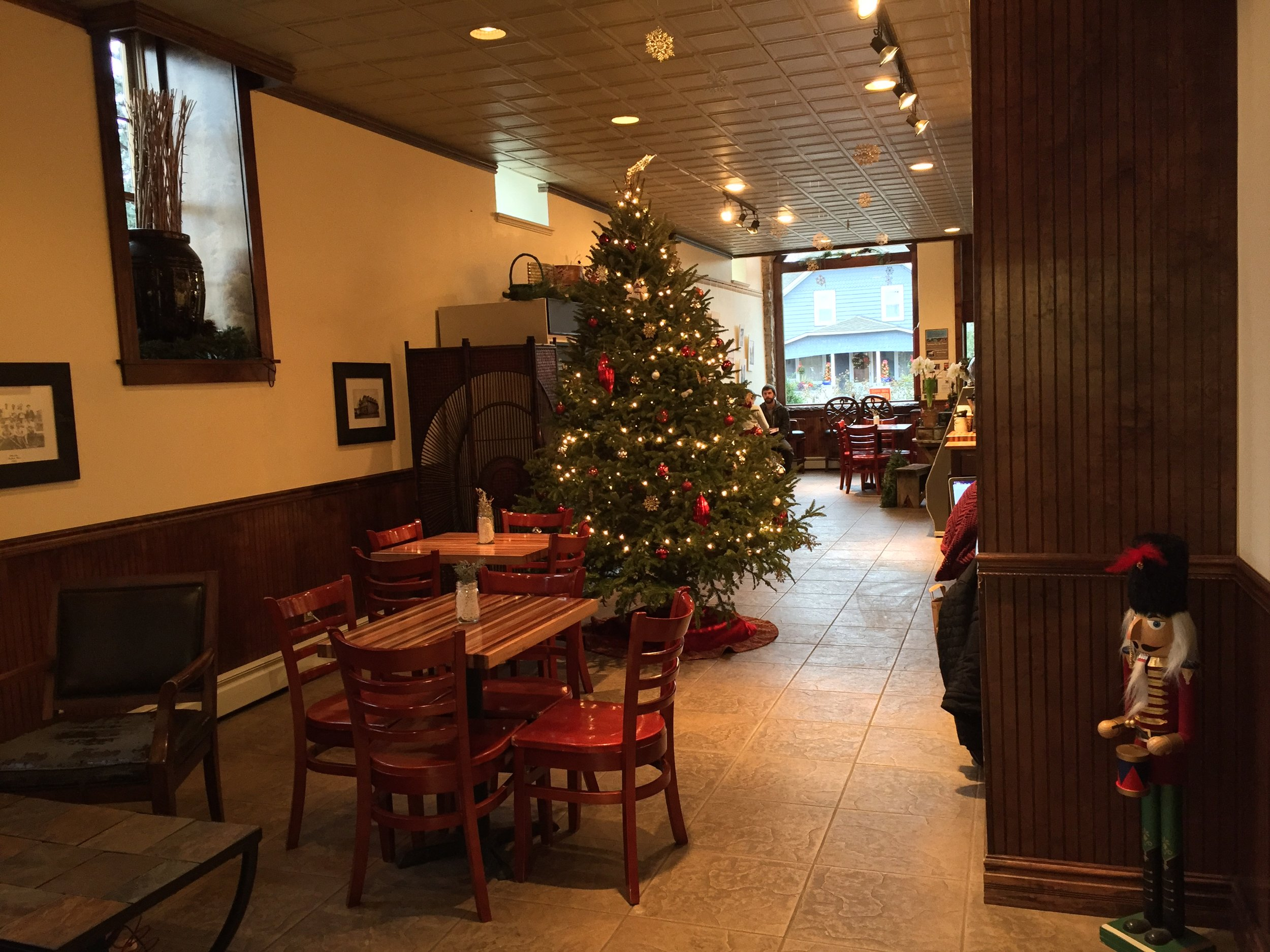 Brig O'Doon is decked out for the holidays. This view greets visitors if they come in from the back entrance.