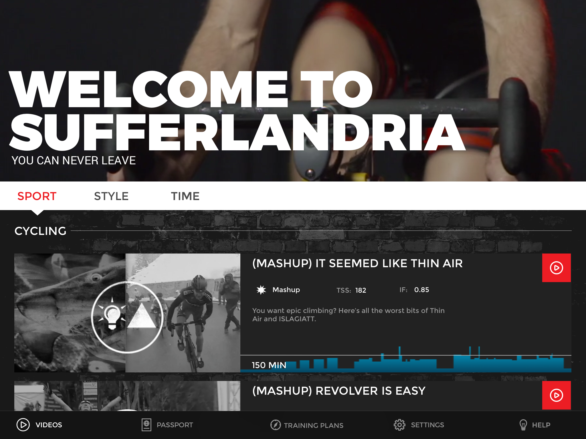 The user menus are extremely easy to navigate. This is the welcome screen for The Sufferfest's videos library.