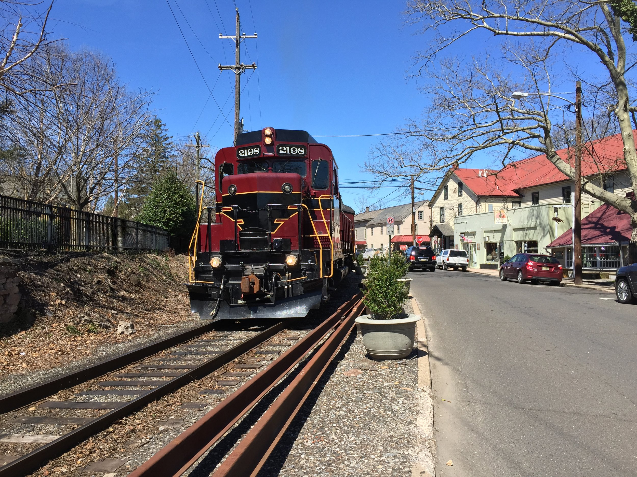 Our turn north included a passing by the locomotive from the New Hope- Solebury train station.
