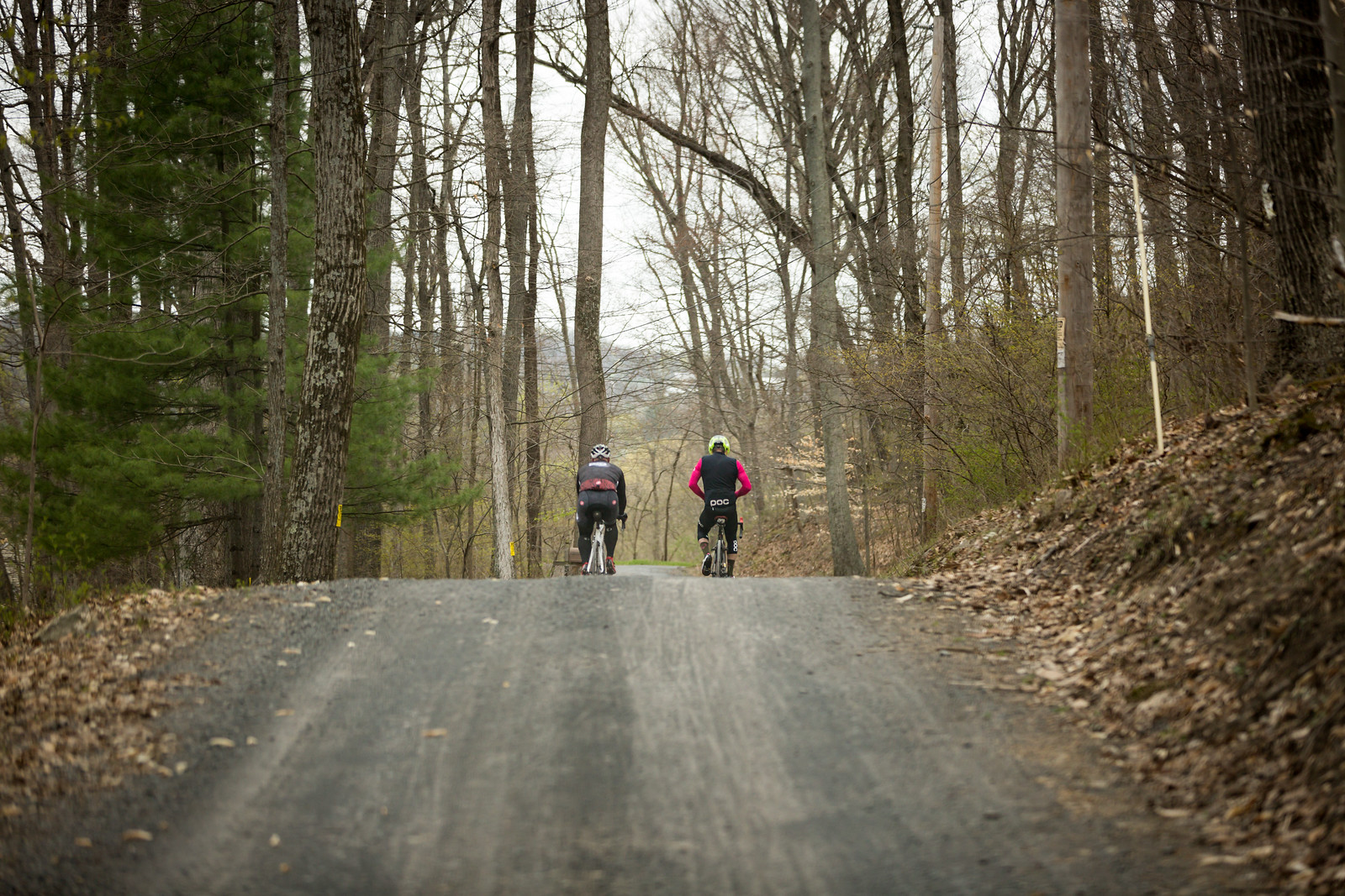 Gravel roads through forests with varied elevation is the brief way to describe the Fools Classic course. Riding with a partner or team makes it even better. Photo courtesy Mike Maney.