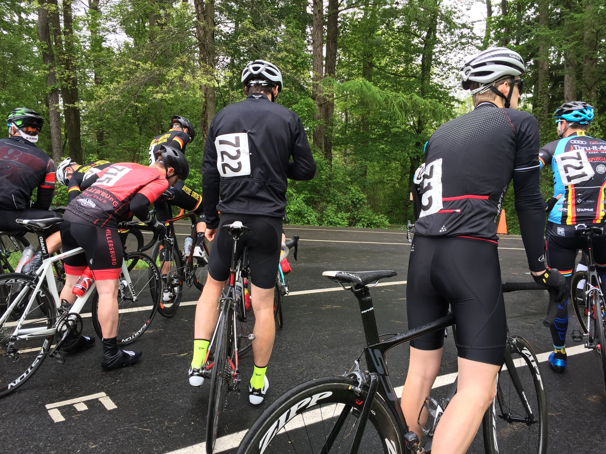 Riders ready for the Cat 2/3/4 were discussing the conditions before the start of the race.