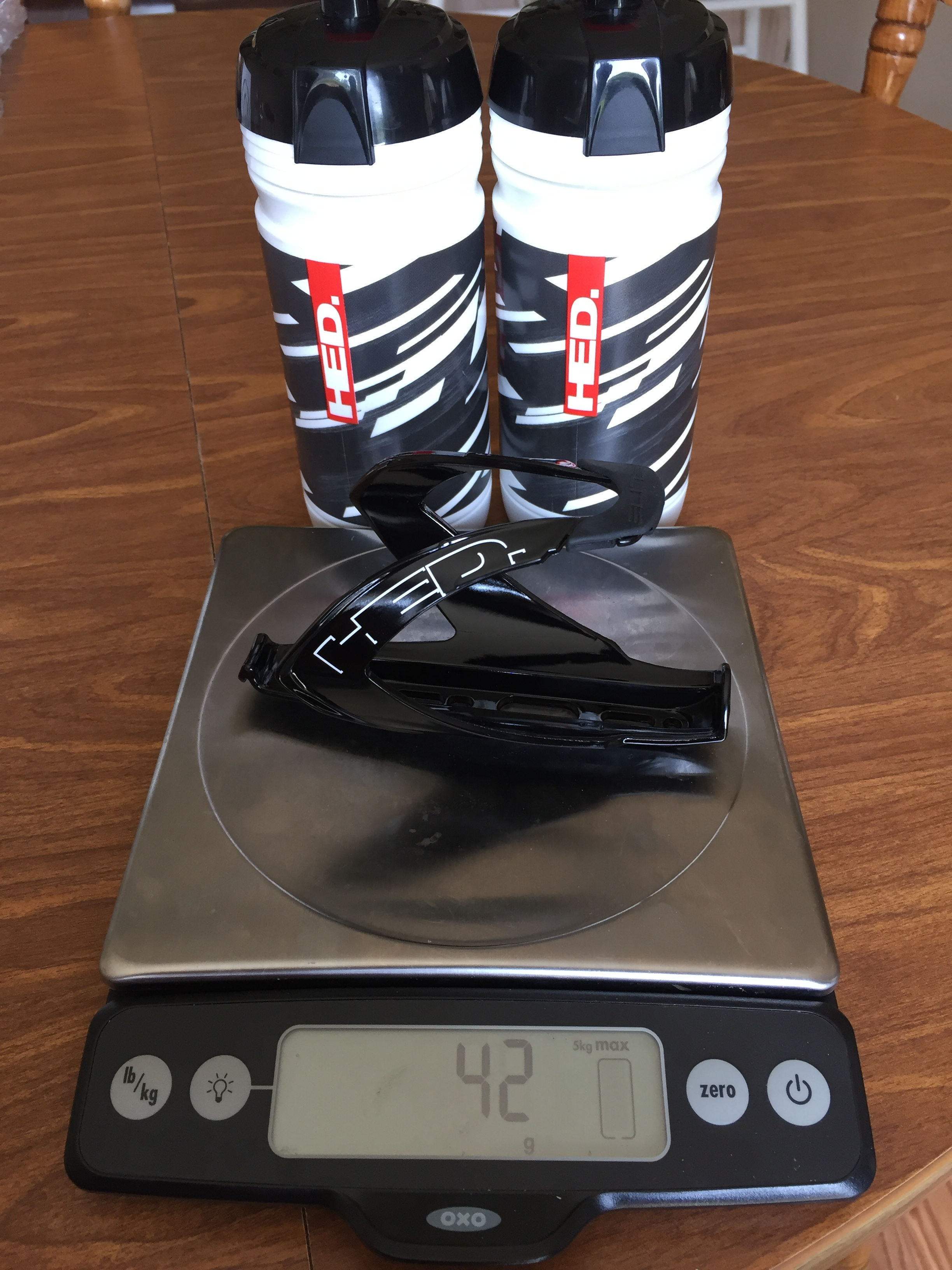 Not a bad weight for vinyl water bottle cages.