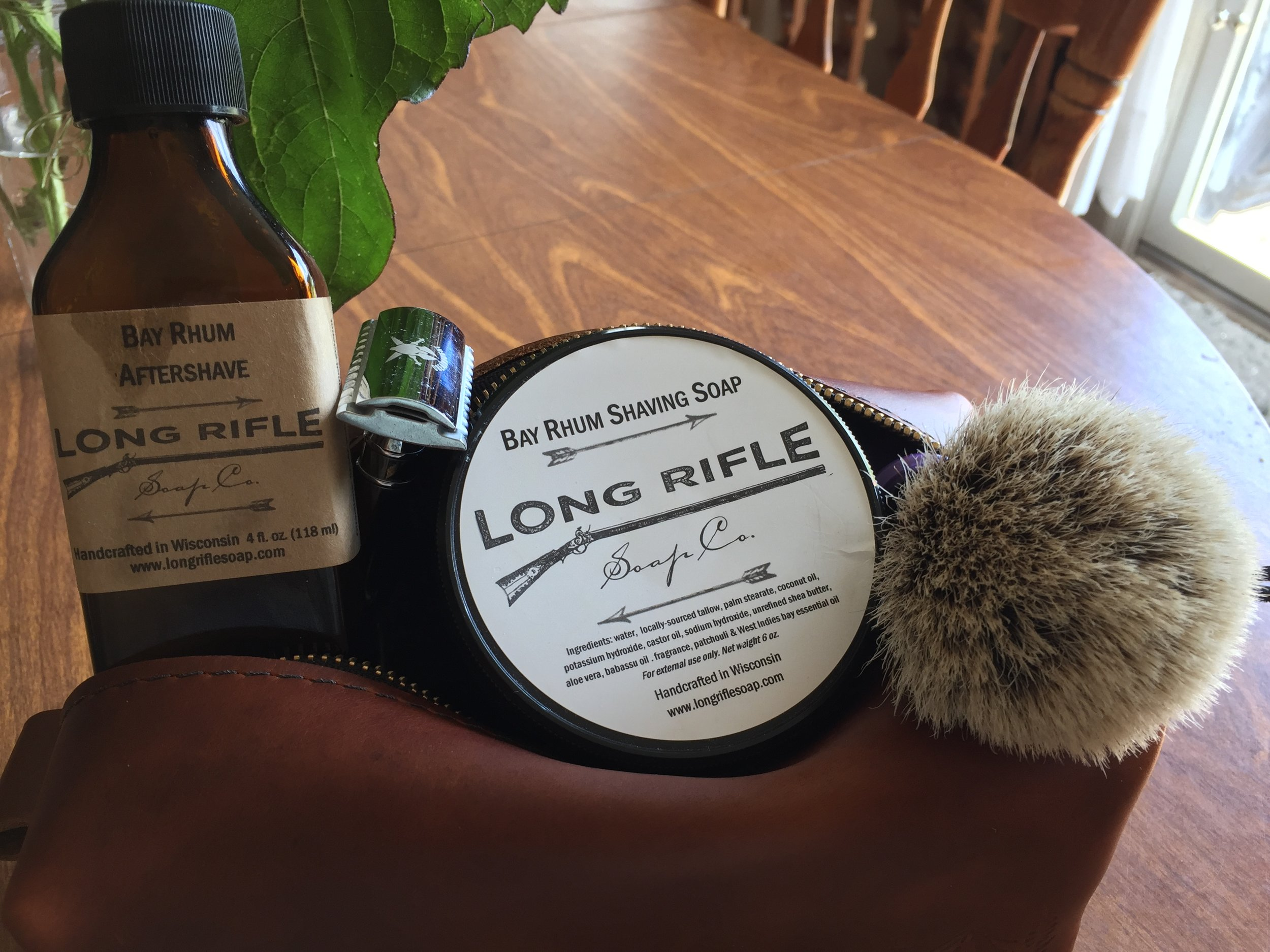 All of these wet-shaving essentials fit easily in the bag along with a small scuttle.