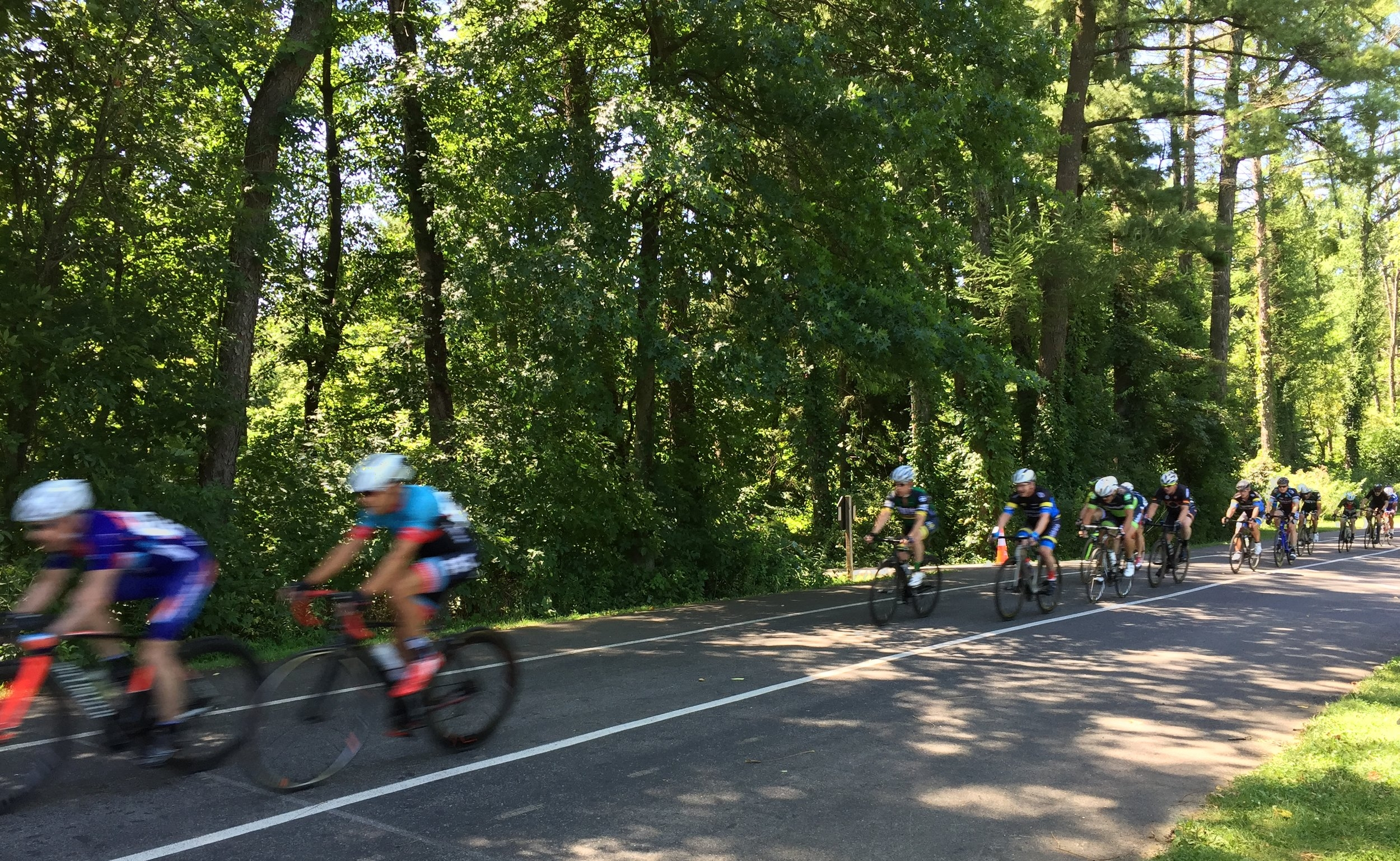 Riders coming by the start/finish line at Rodale Park.